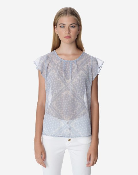 Printed top with bow