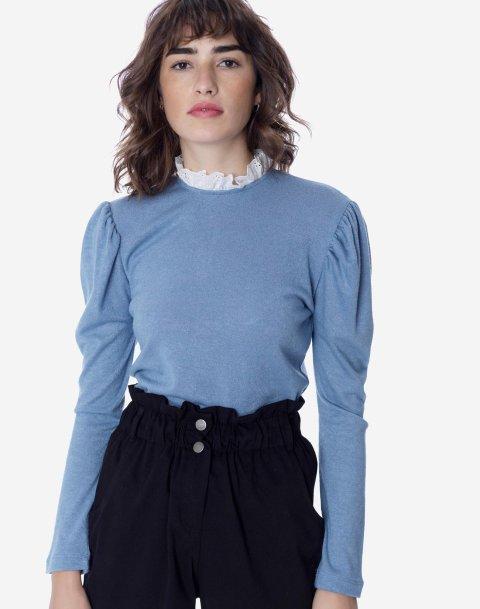 Μπλούζα με όρθιο γιακά ασπροκέντημα