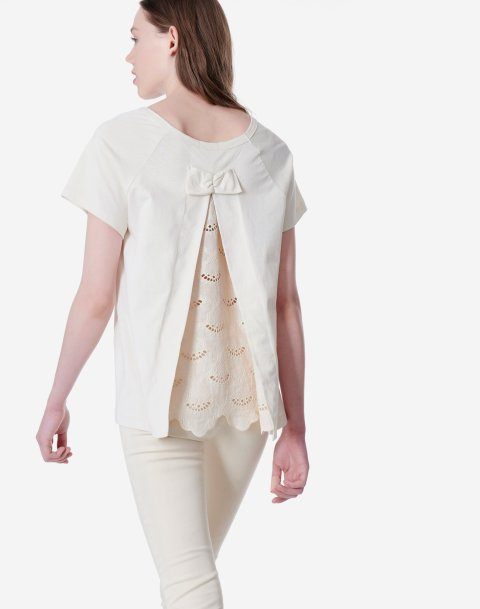 Top with detail broderie and bow