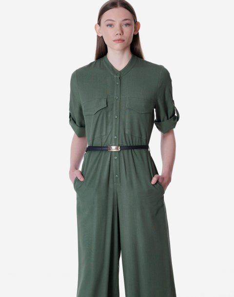 Jumpsuit with mandarin collar