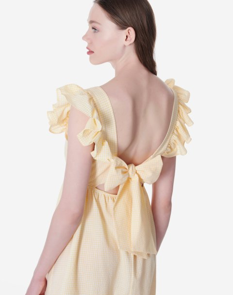 Μίνι καρό φόρεμα με φιόγκο