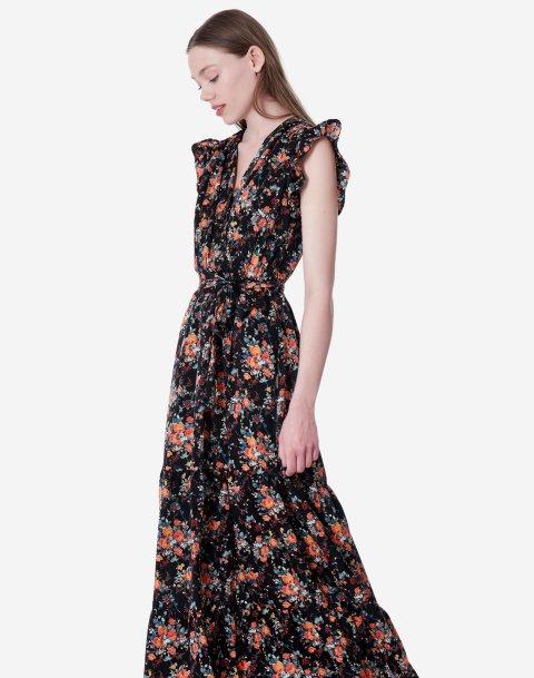 Φλοράλ μάξι φόρεμα με βολάν