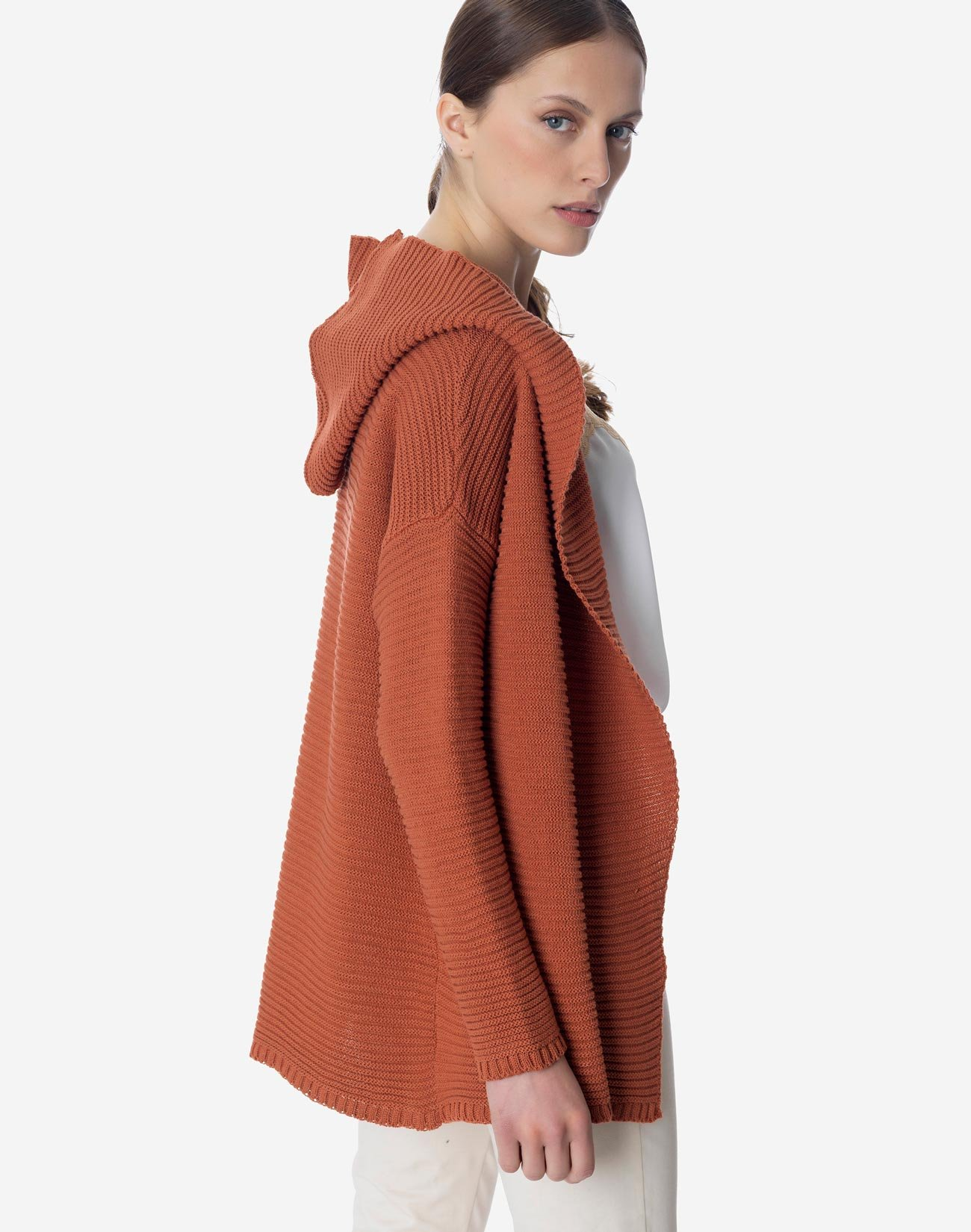 Knit cardigan with hood