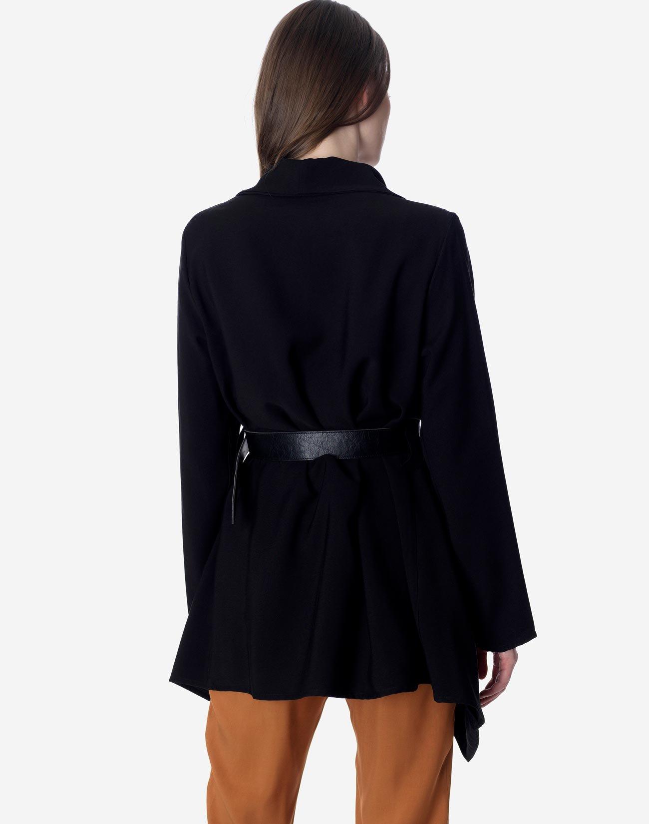Asymmetrical jacket with belt
