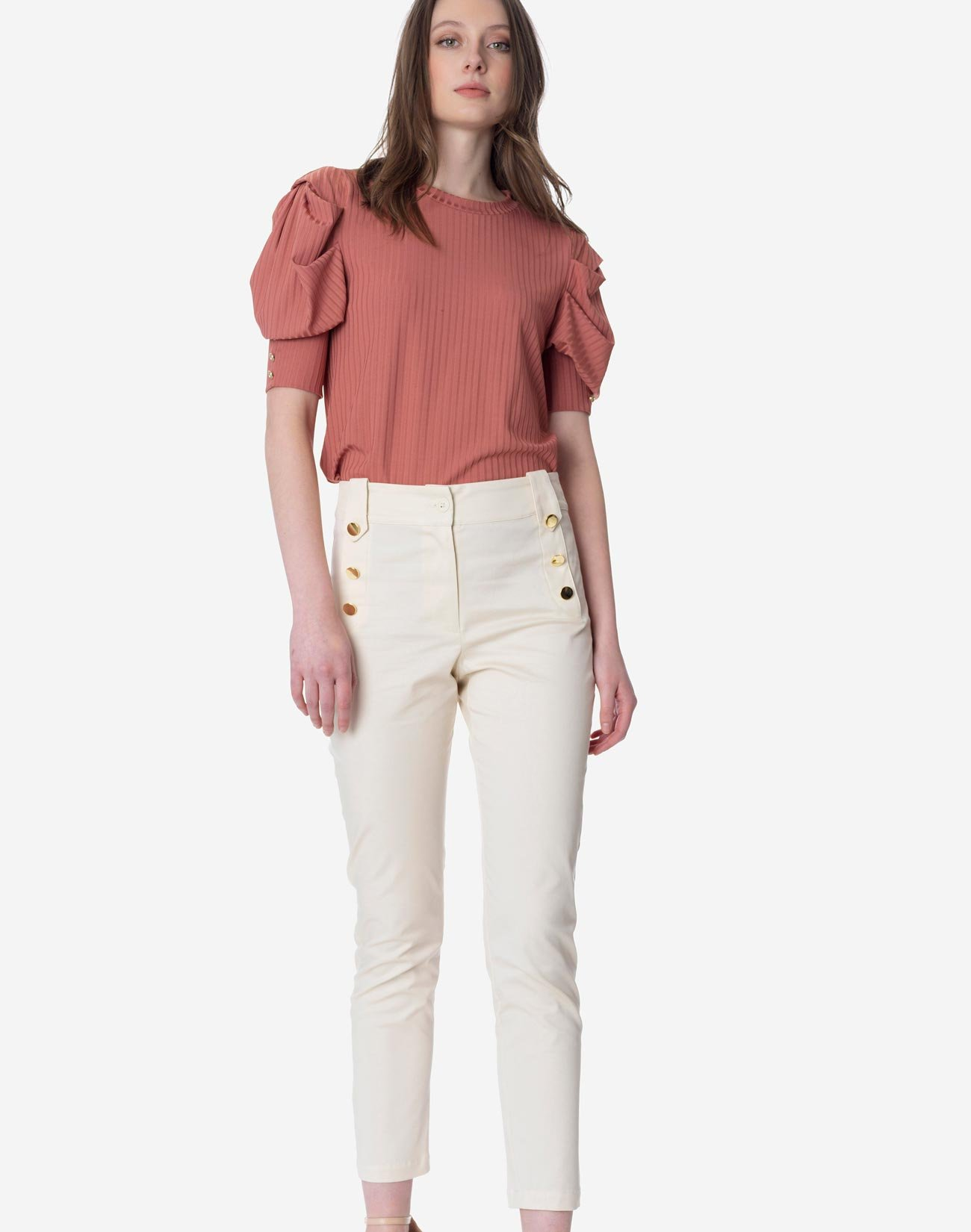 High waist trousers with gold buttons