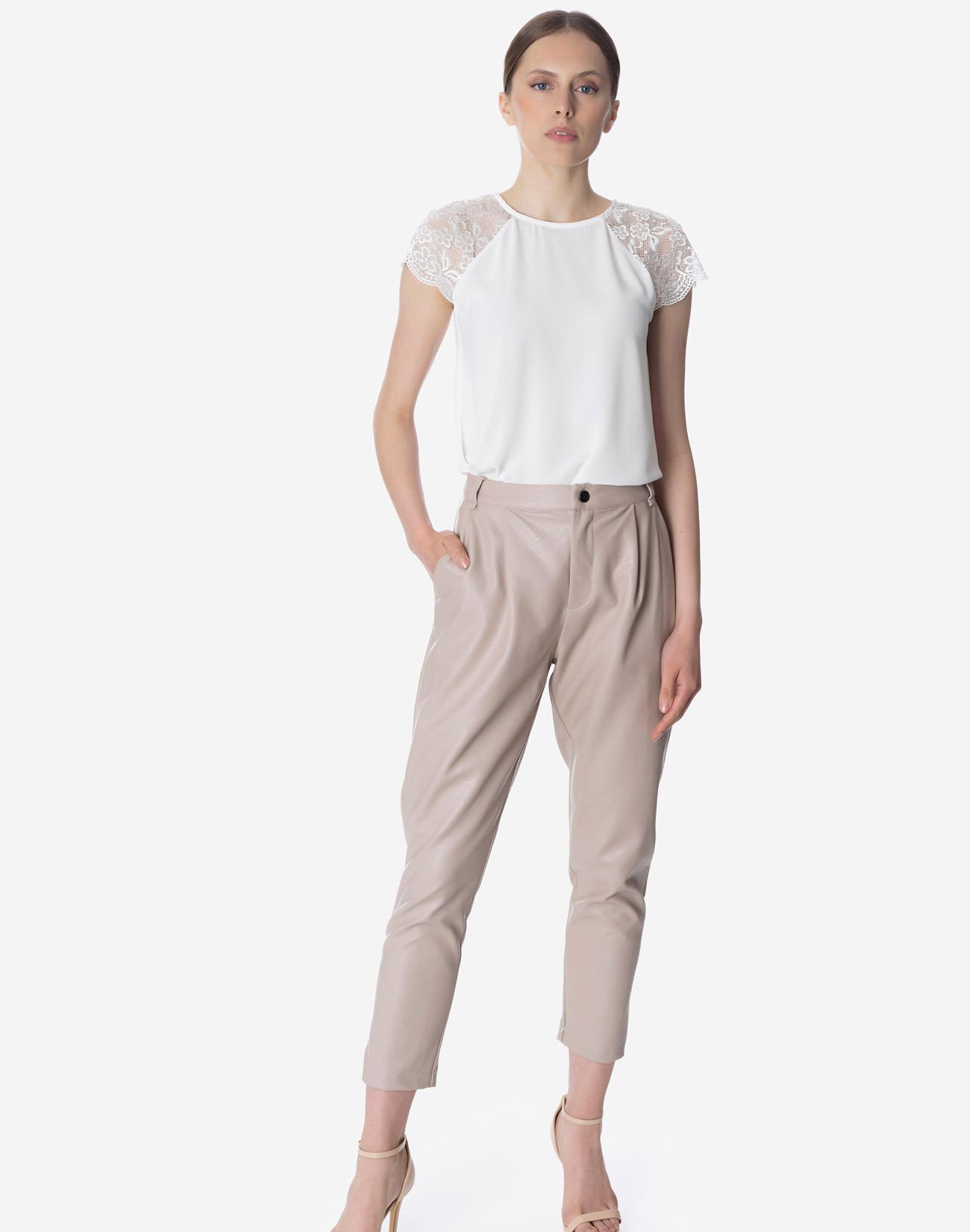 Faux leather pleated trousers