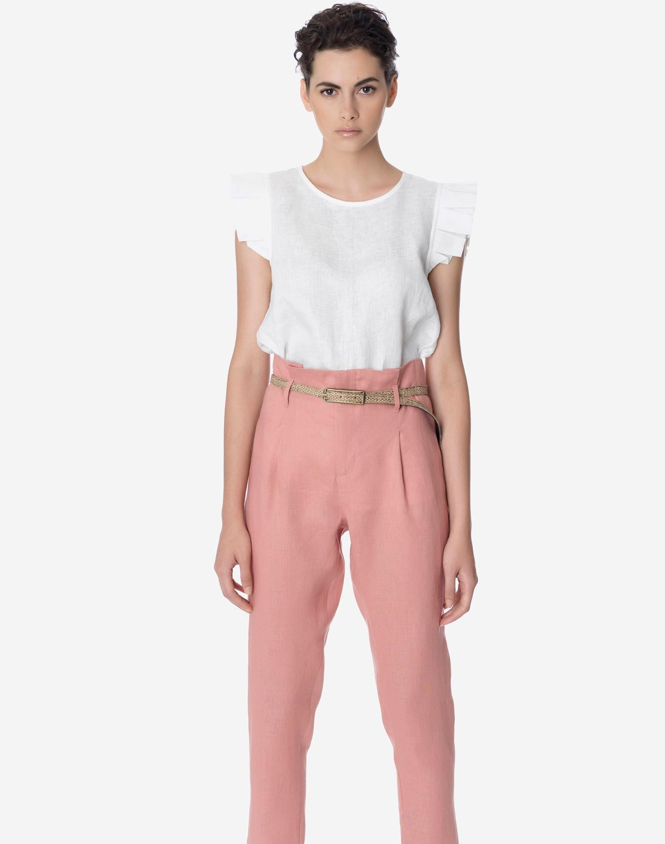 Linen pleated trousers