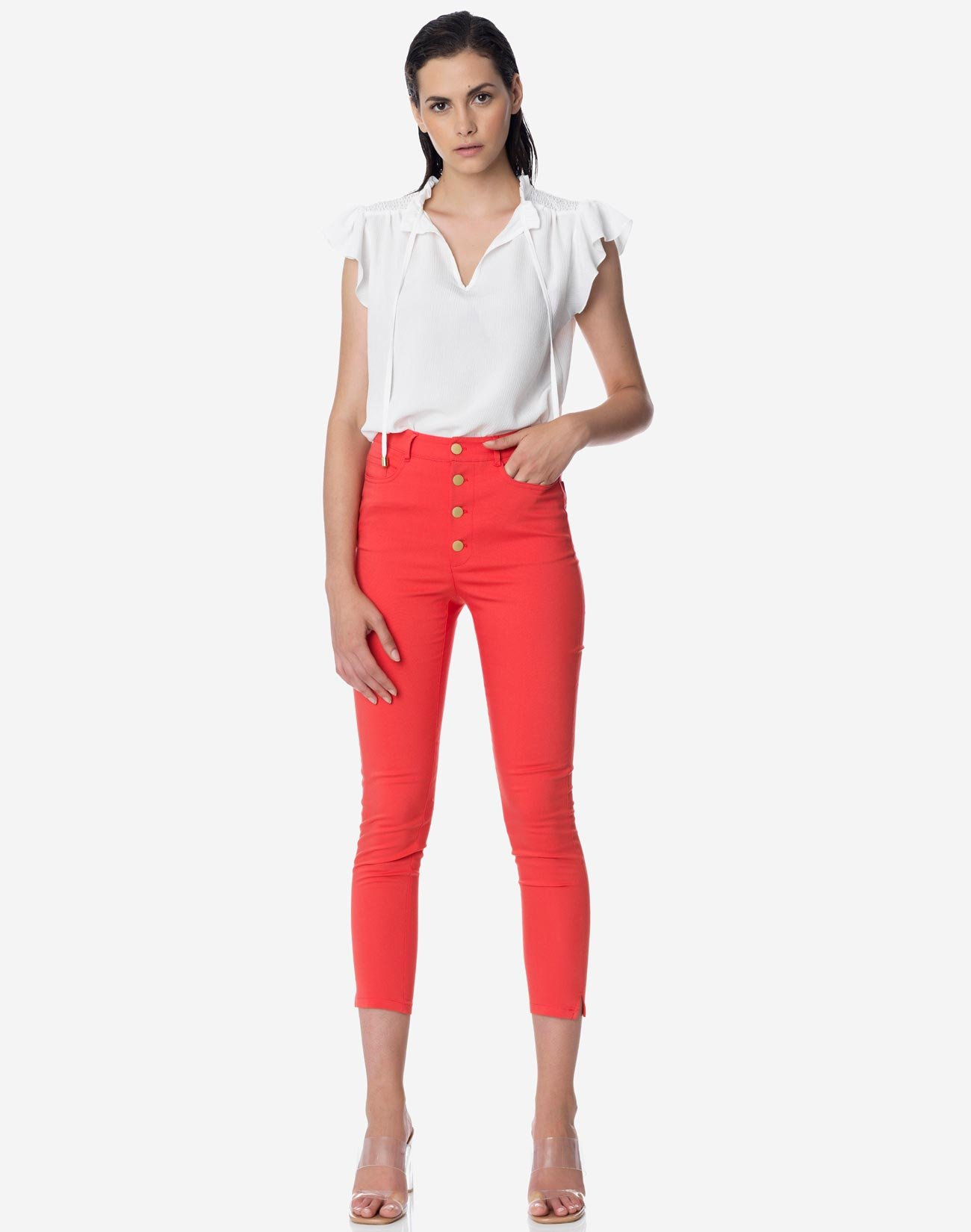 High waist button fly trousers