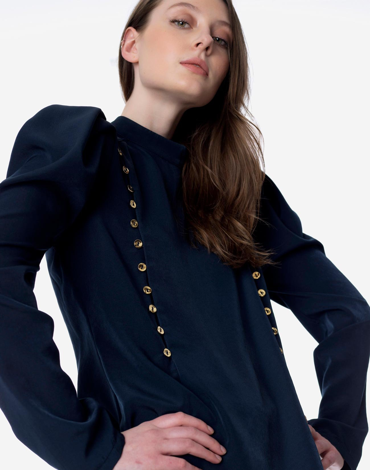 Blouse with gold buttons