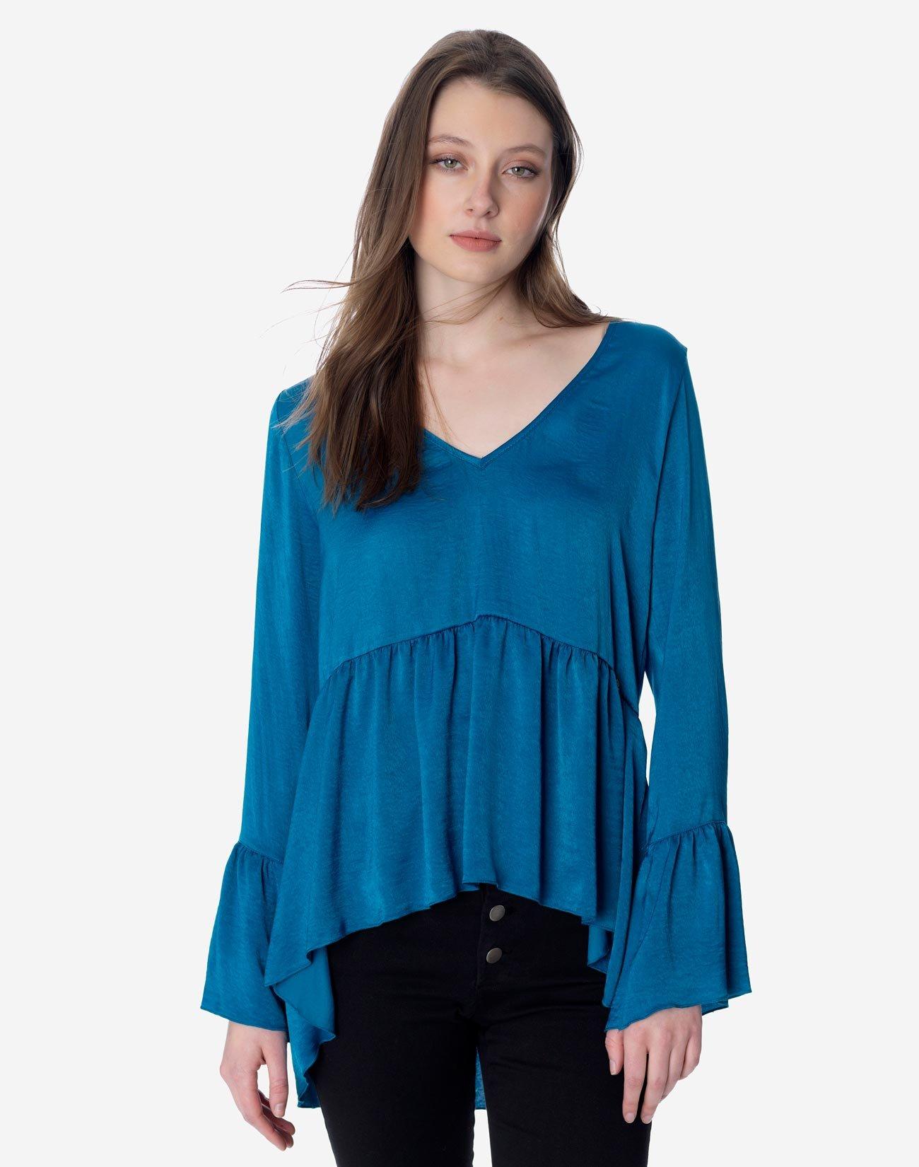 Ασύμμετρη μπλούζα με βολάν