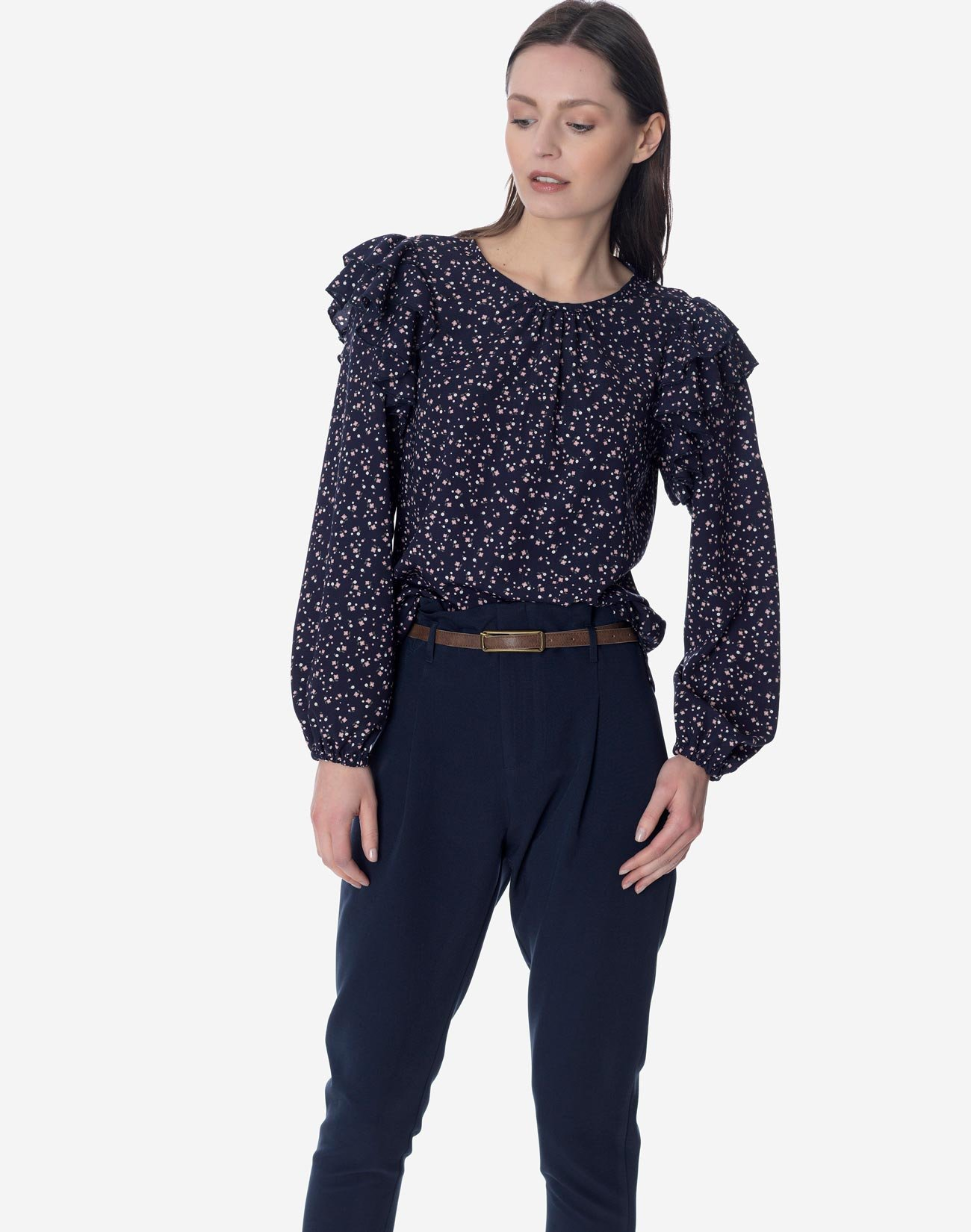 Printed top with double ruffles