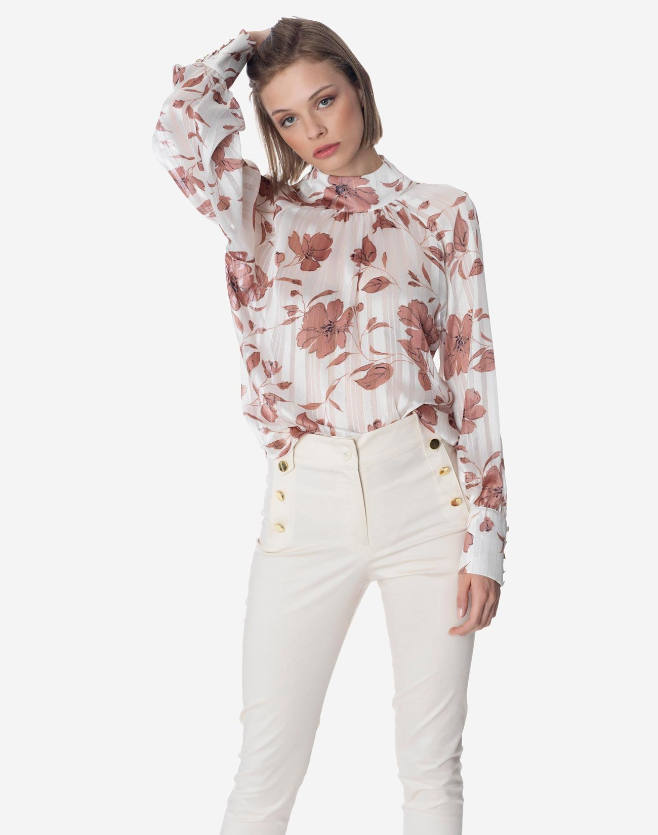 Printed blouse with high neck