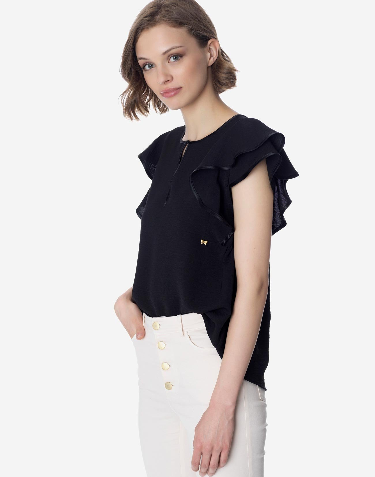 Top with ruffled shoulders