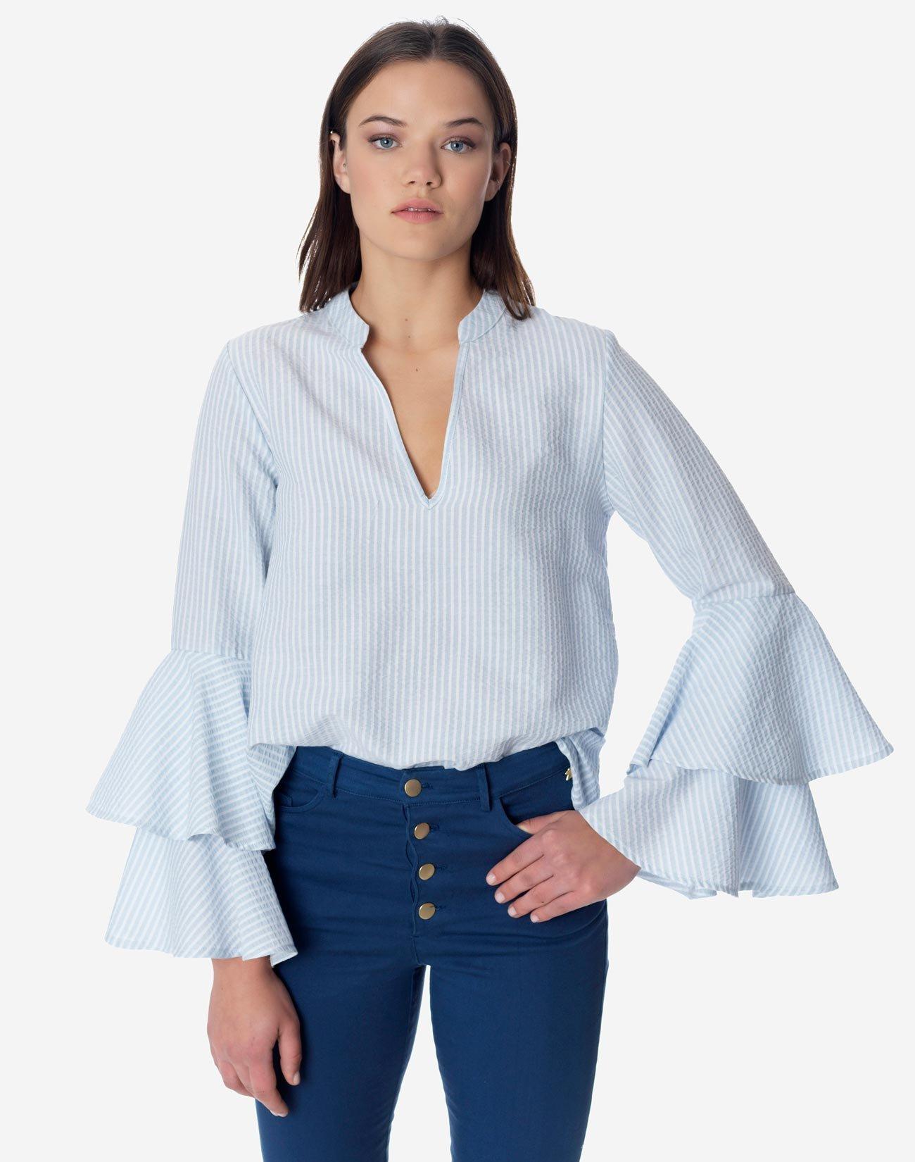 Μπλούζα ριγέ με διπλό βολάν