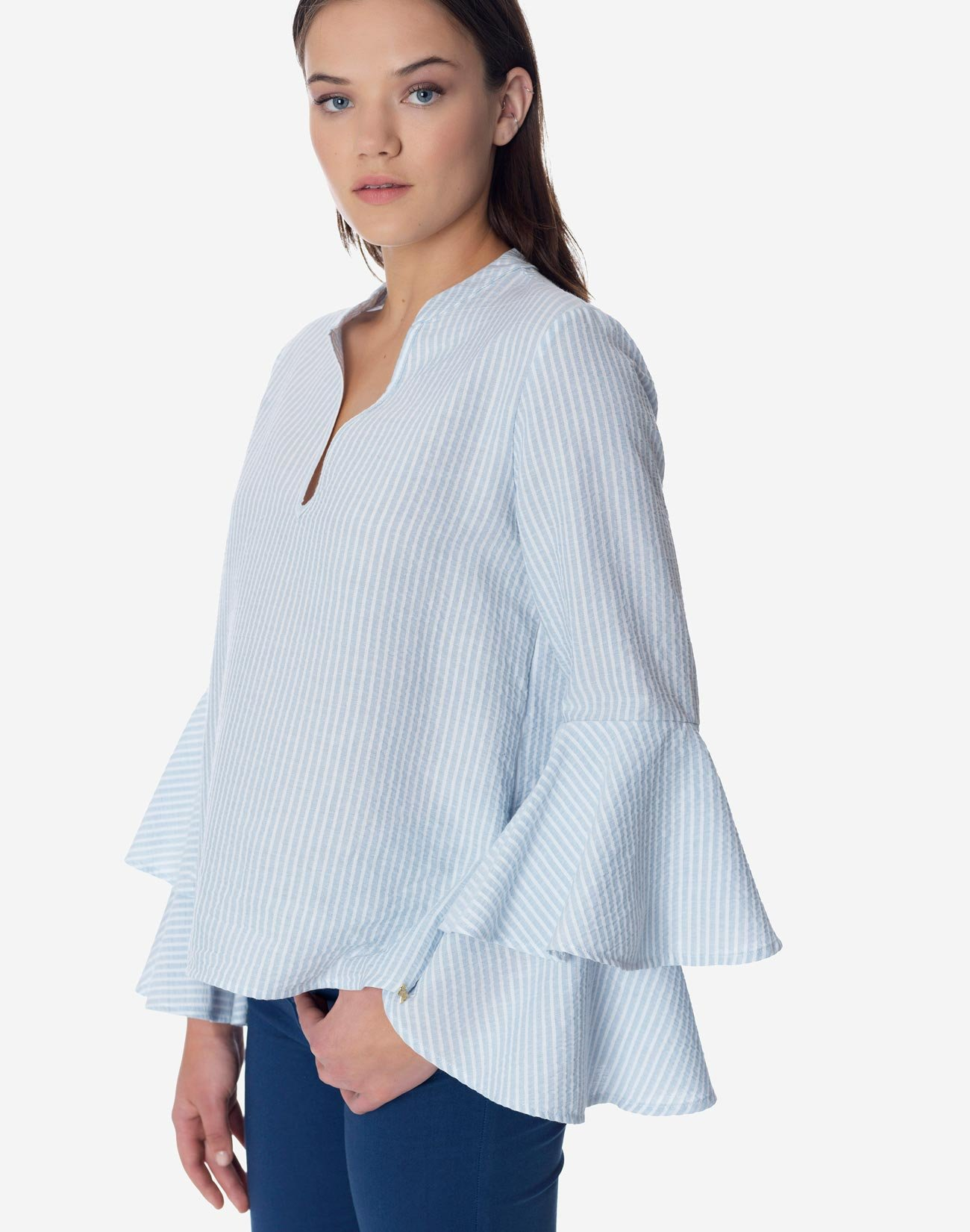 Striped top with double ruffles