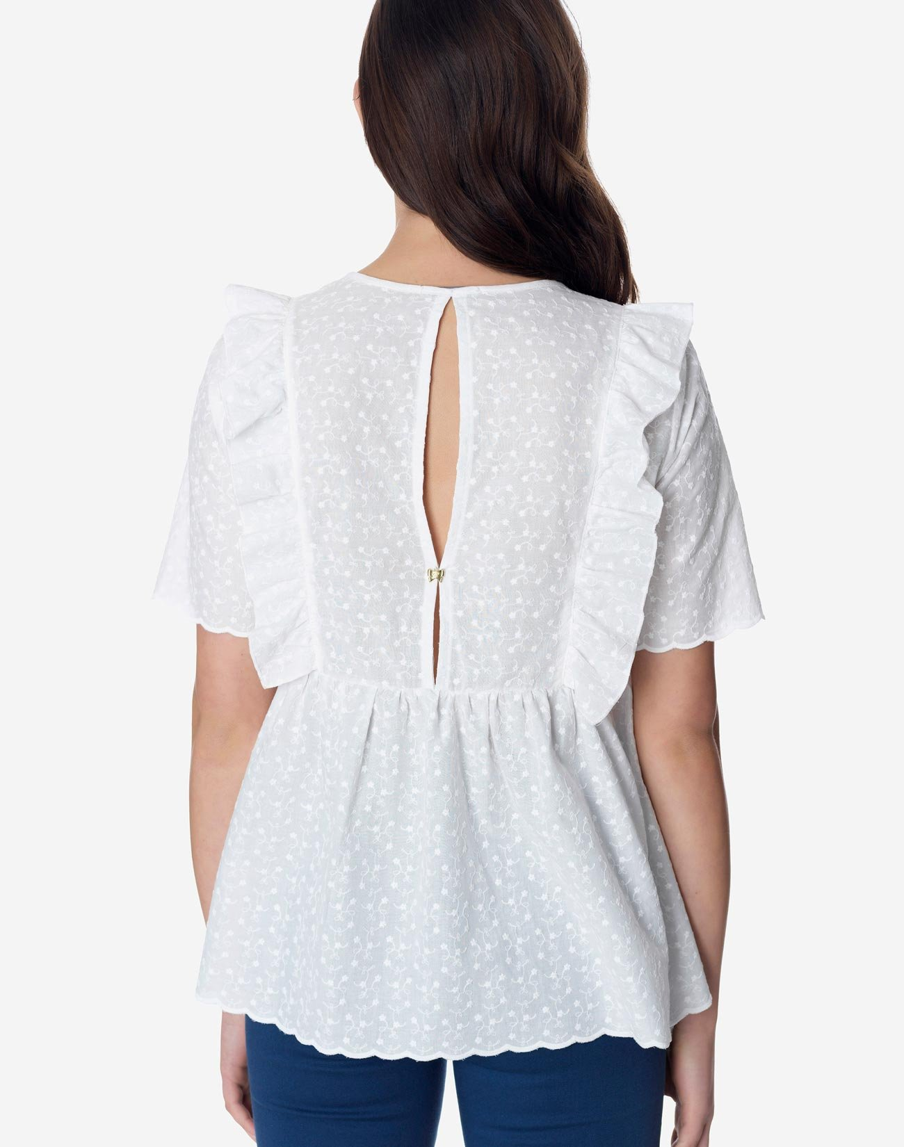 Top broderie with detail ruffles