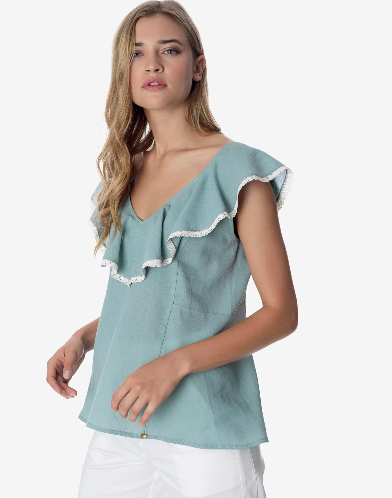 Top with ruffles and lace