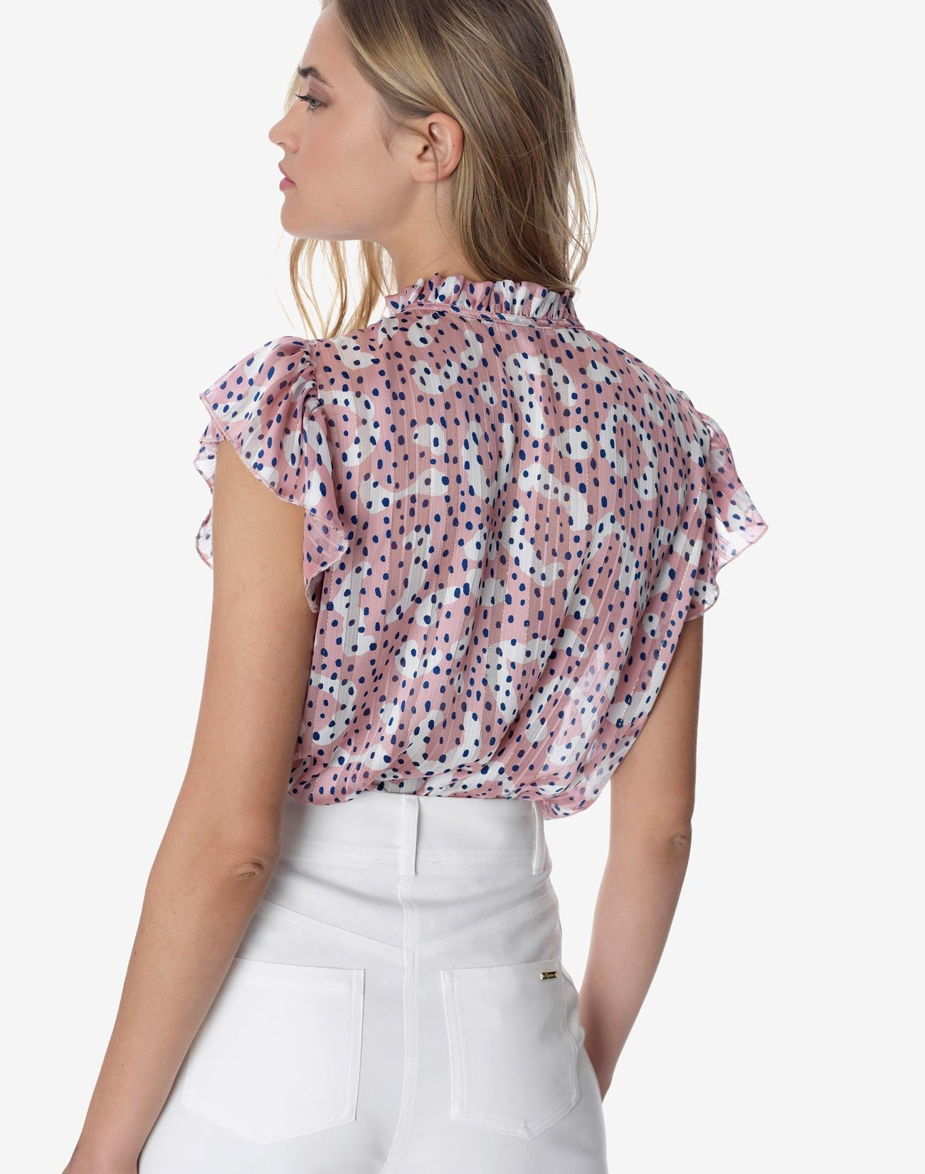 Printed top with high collar