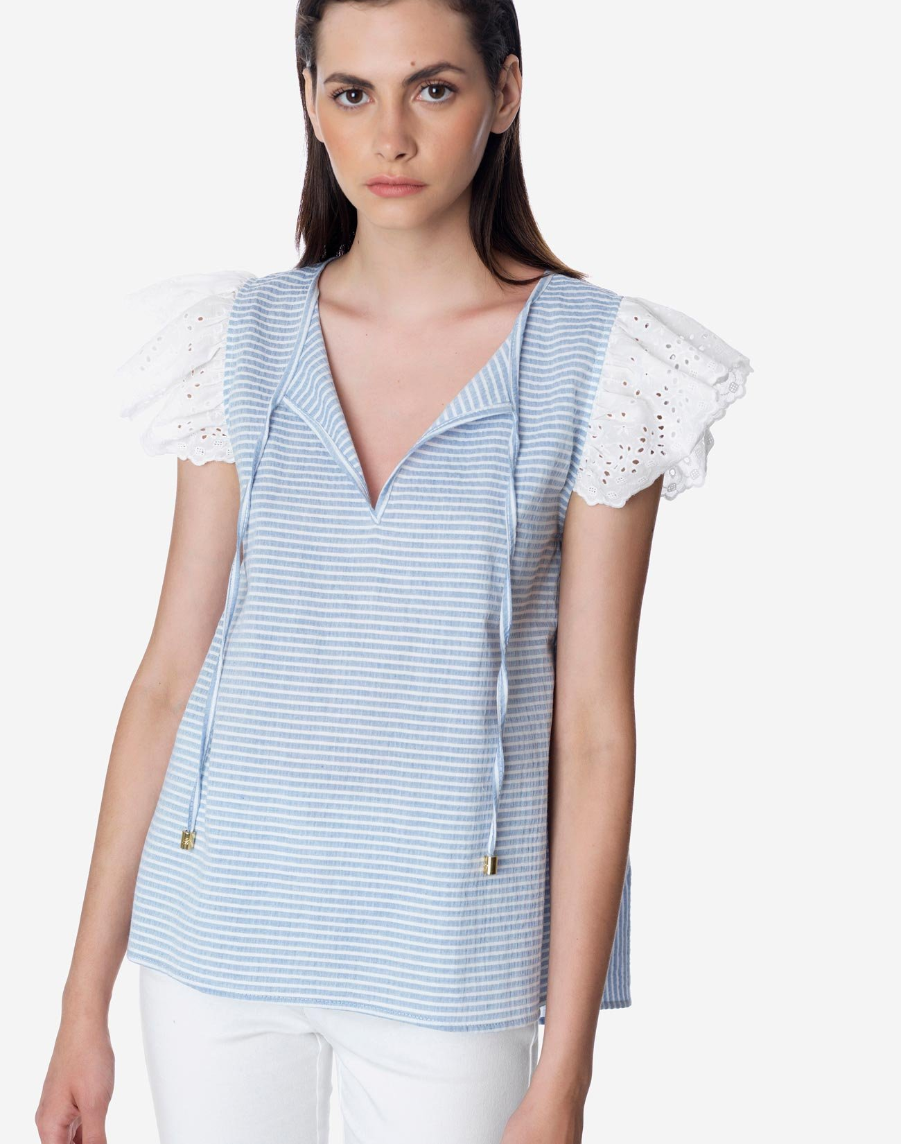 Striped top with broderie
