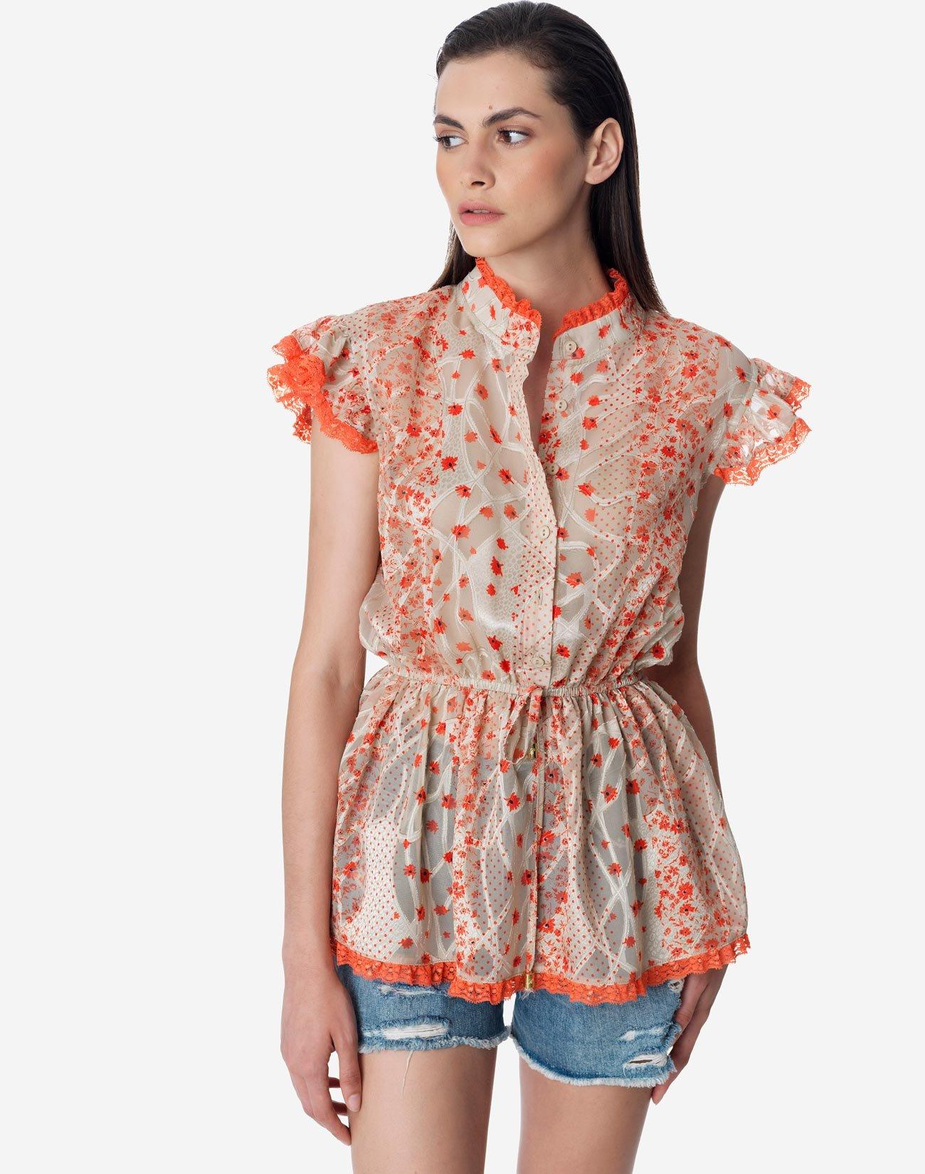 Semi sheer floral print top
