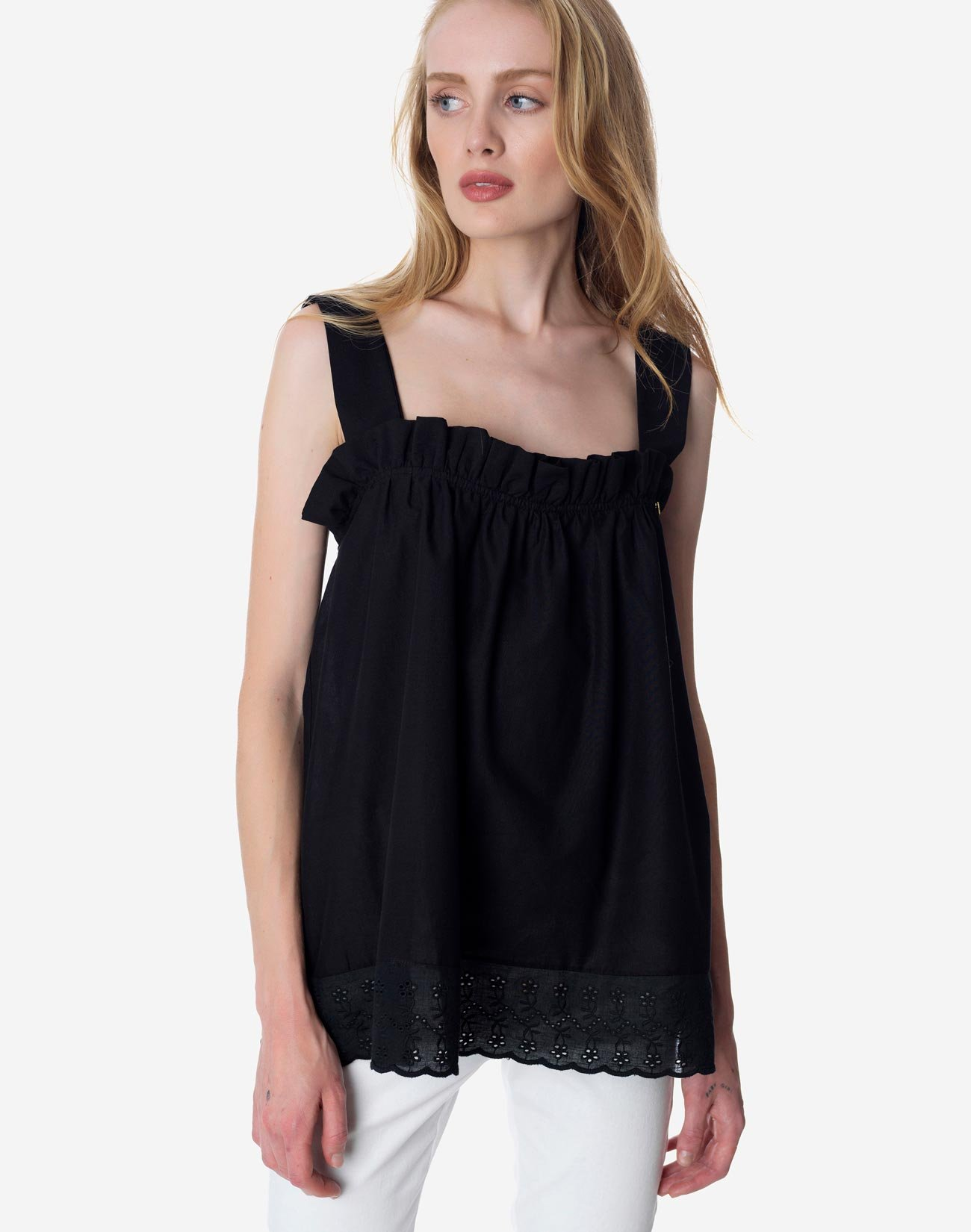 Ruffled top with lace