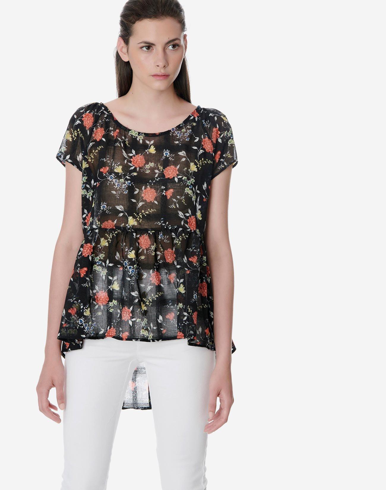 Ημιδιάφανη εμπριμέ μπλούζα