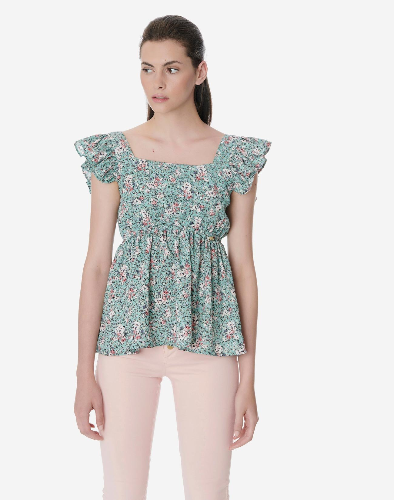 Floral top with bow