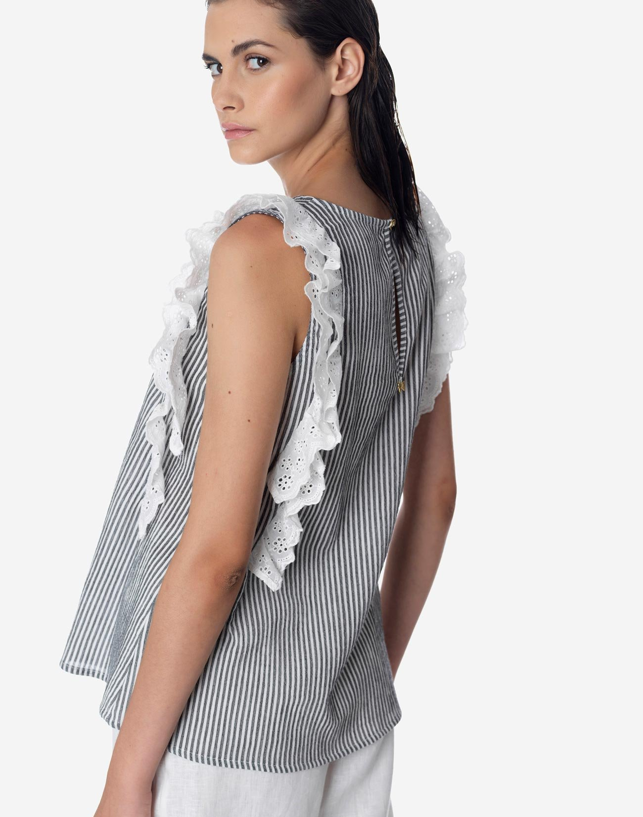 Striped top with broderie ruffles