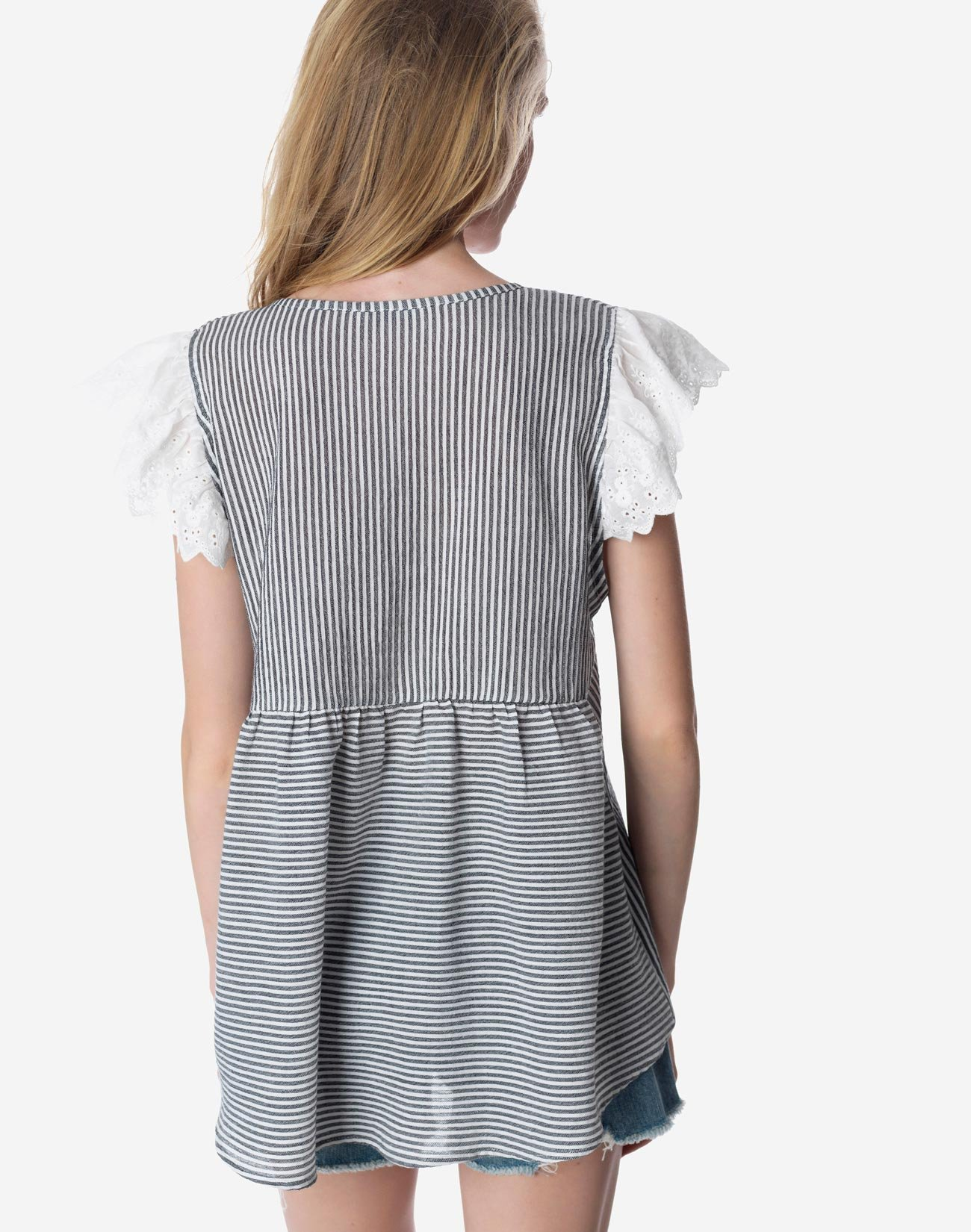 Striped top with broderie detail