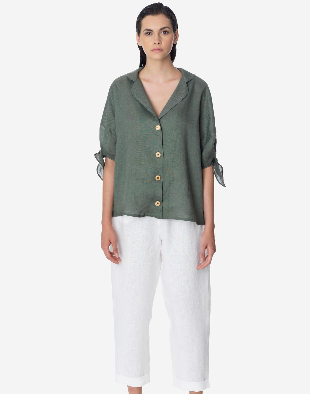 Linen shirt with tie sleeves