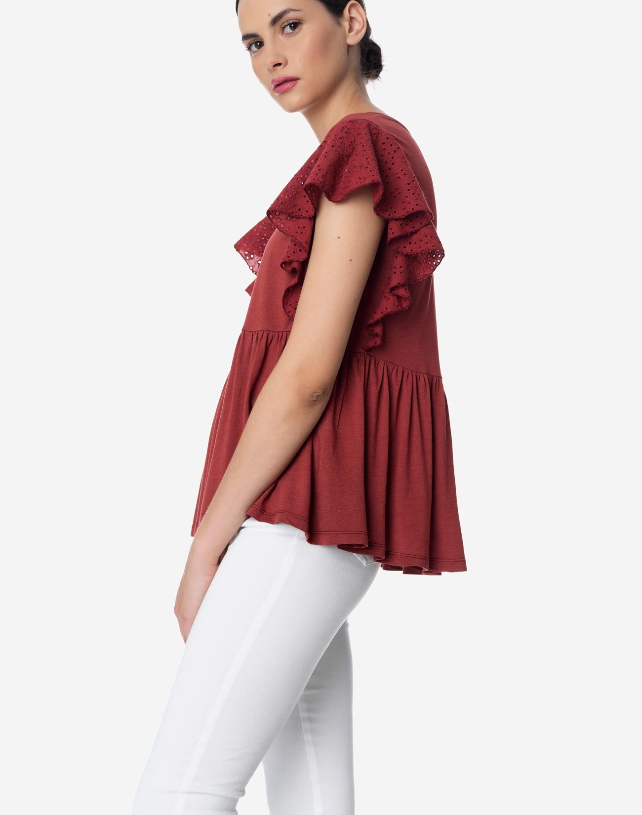 Top with ruffled broderie sleeve