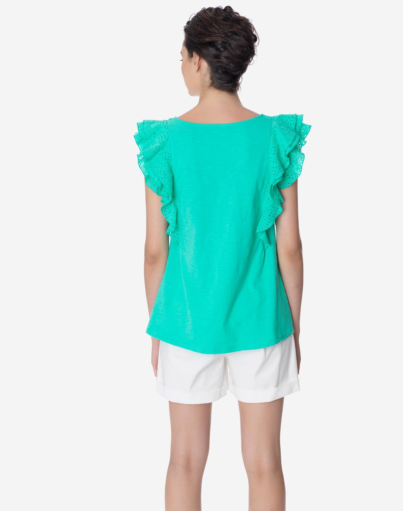Top with embroidered ruffles
