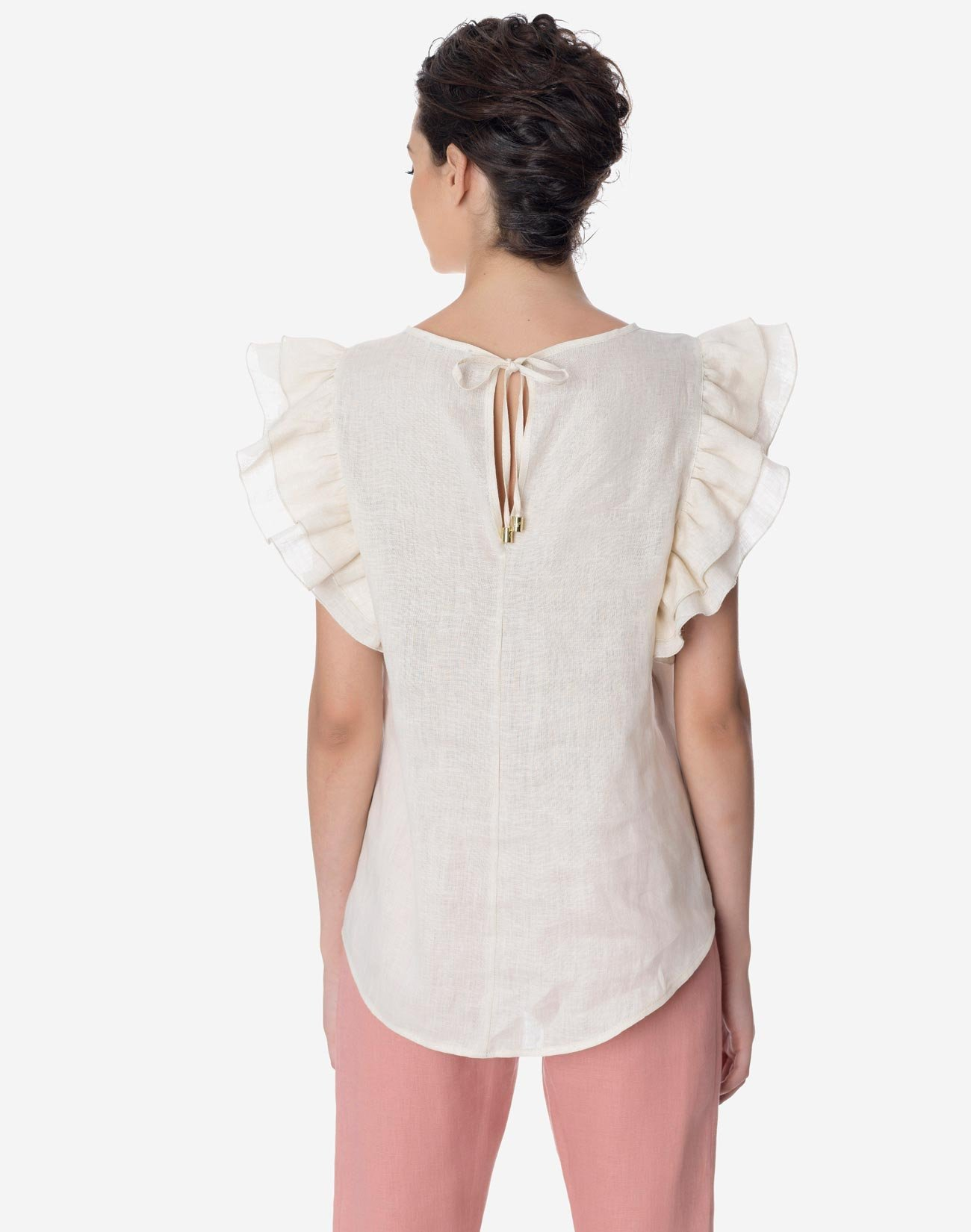 Linen top with double ruffles