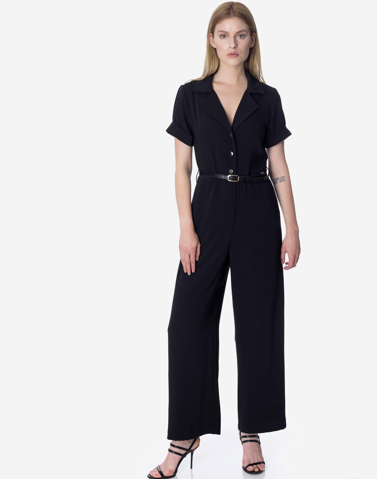 Jumpsuit with lapel collar
