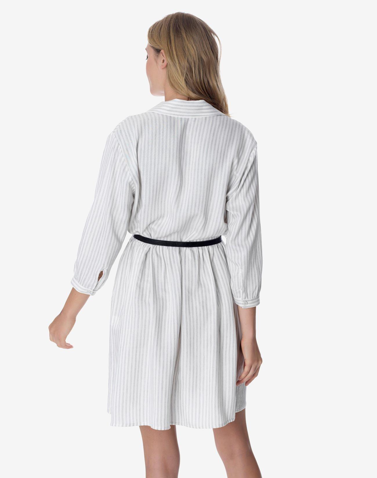 Striped mini shirt dress