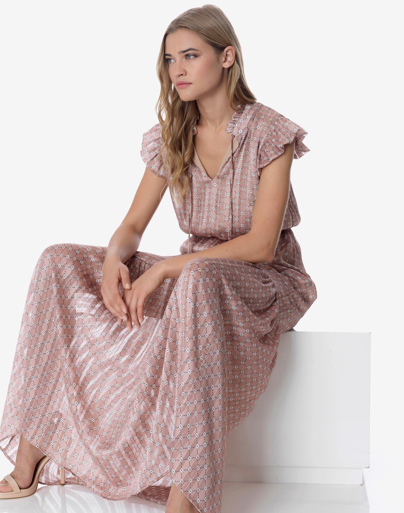 Εμπριμέ μάξι φόρεμα με δέσιμο