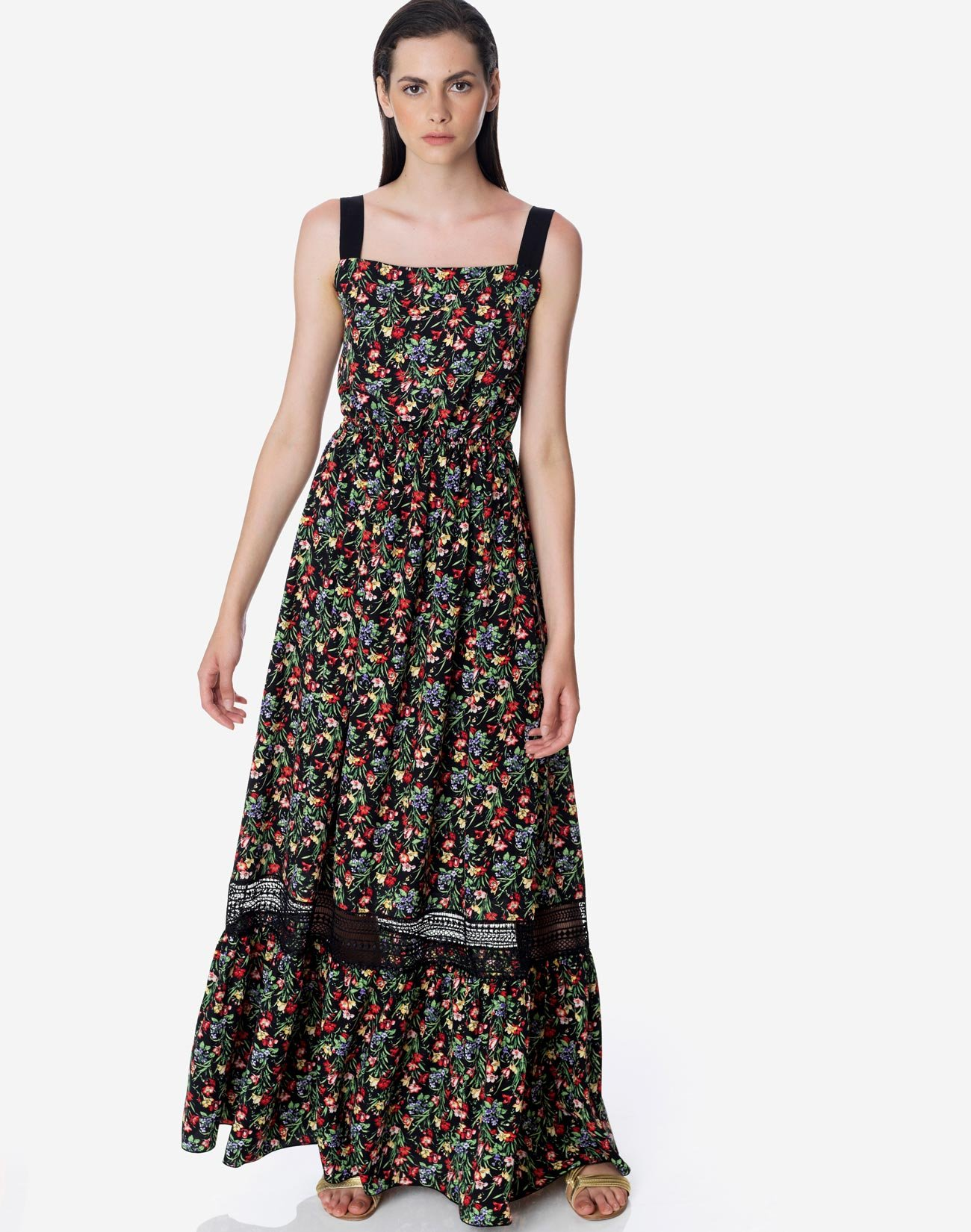 Printed maxi dress with bow