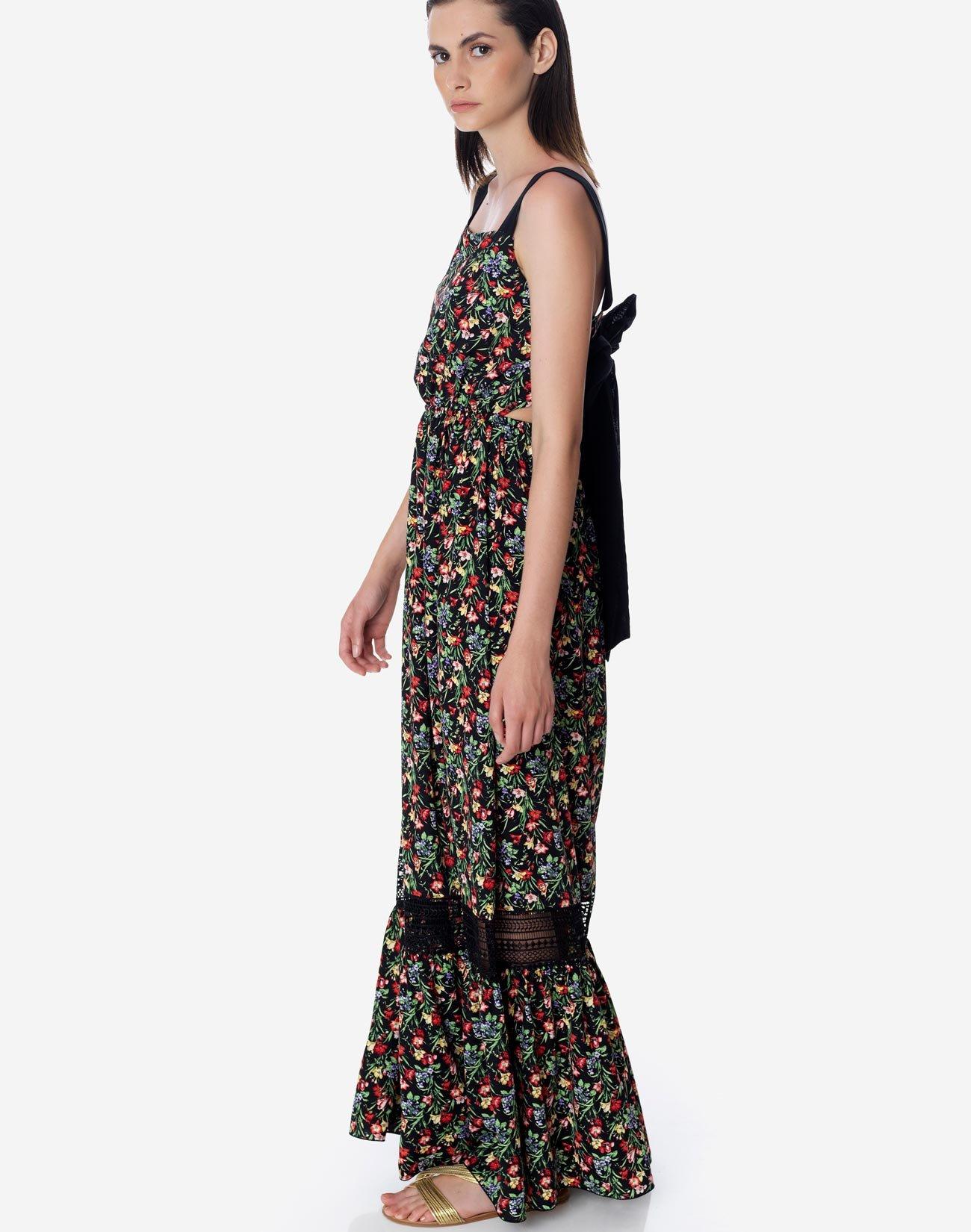 Εμπριμέ μάξι φόρεμα με φιόγκο