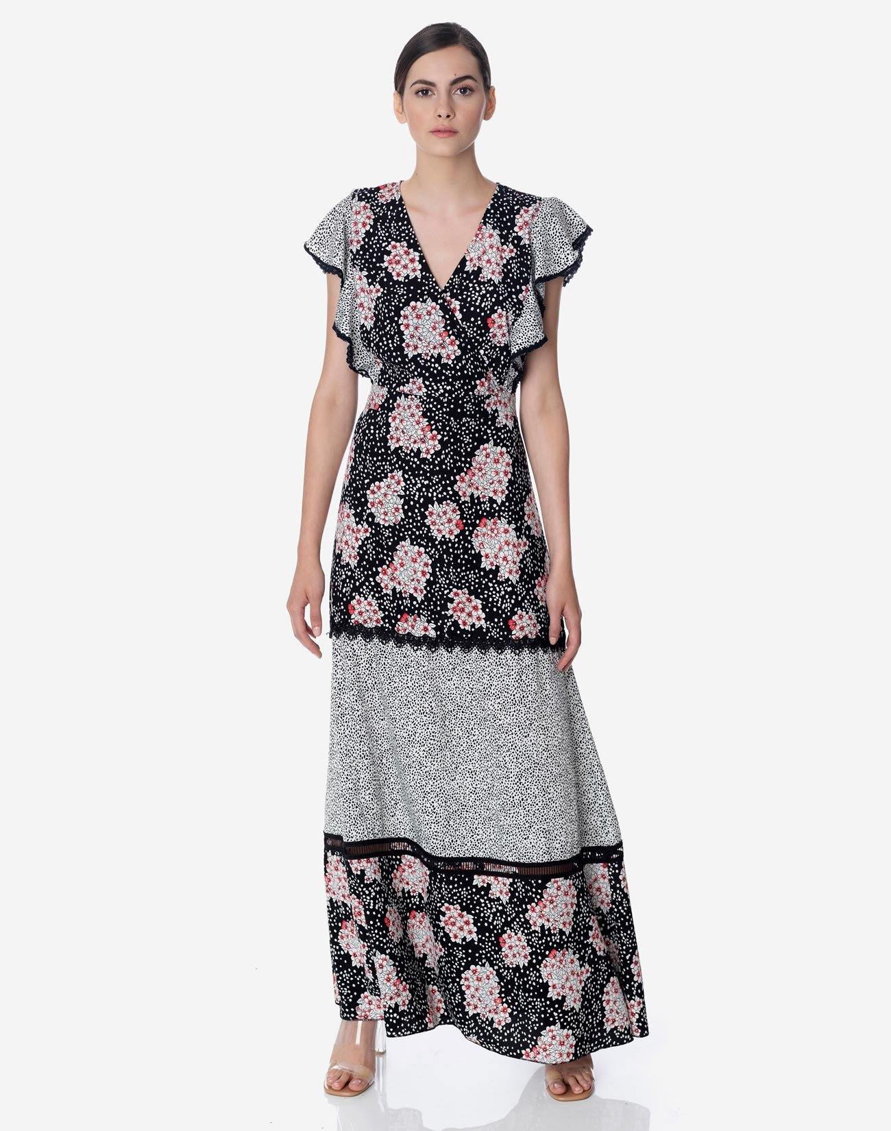 Maxi dress with contrasting print