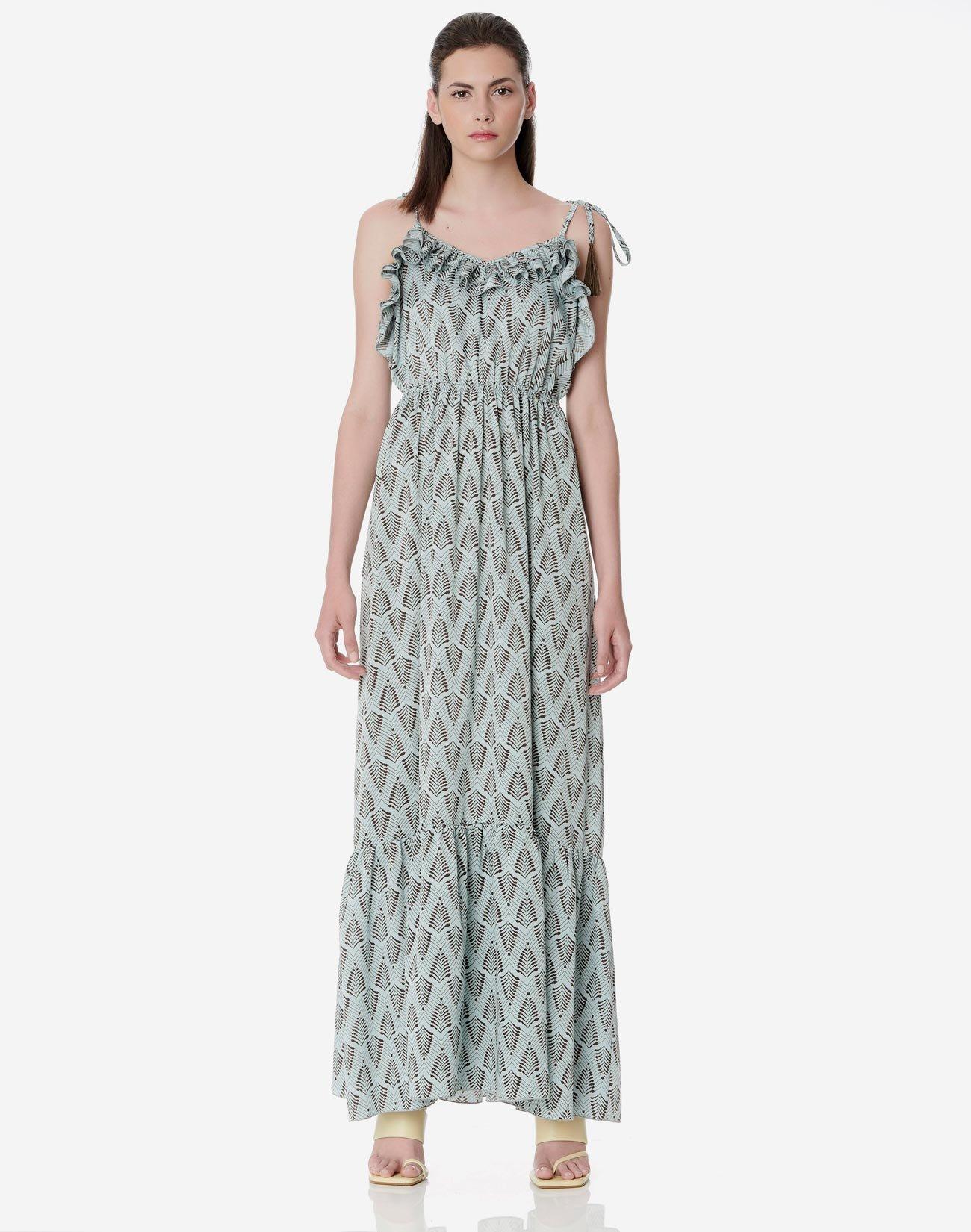 Μάξι φόρεμα με διπλό βολάν