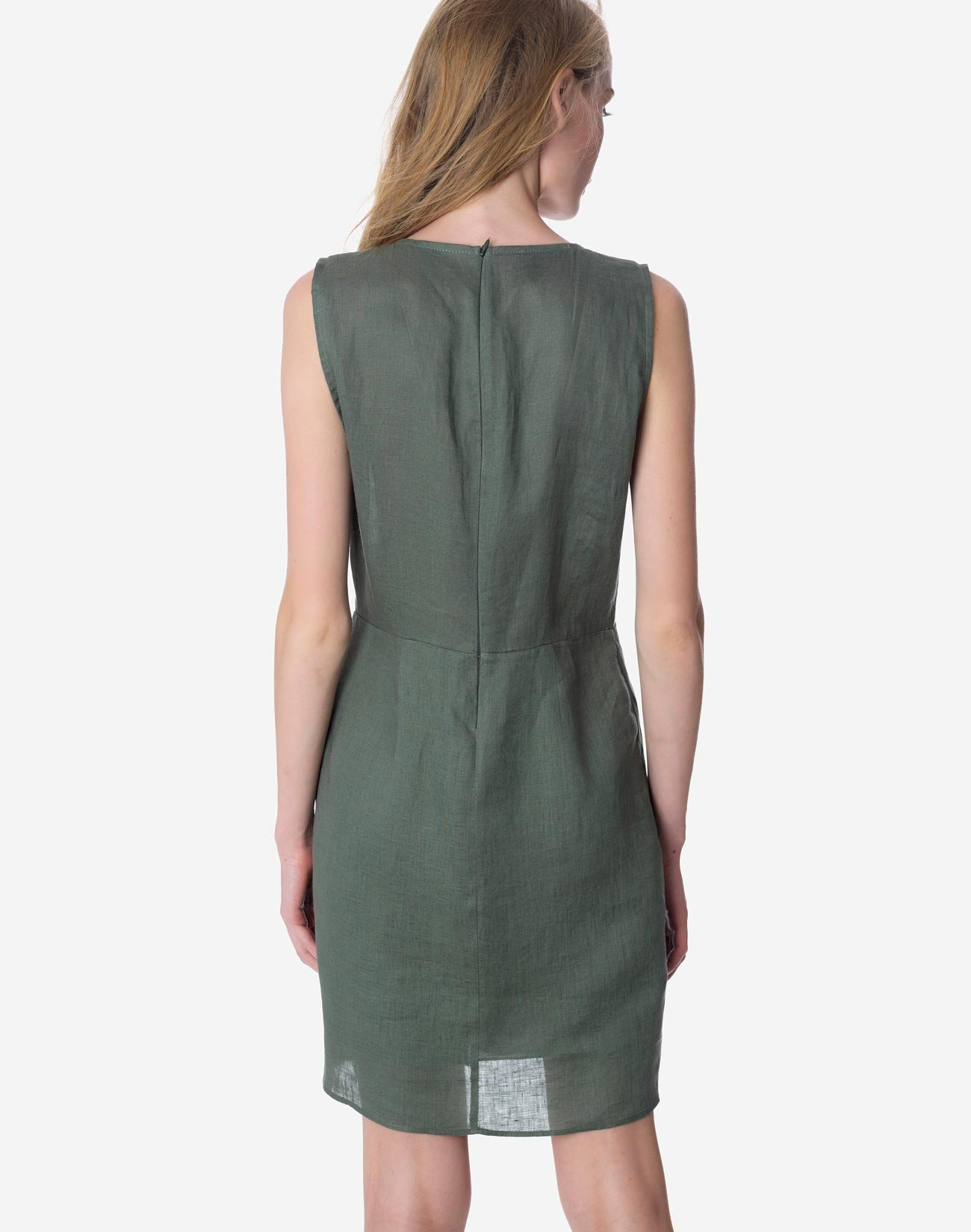 Linen dress with knot detail