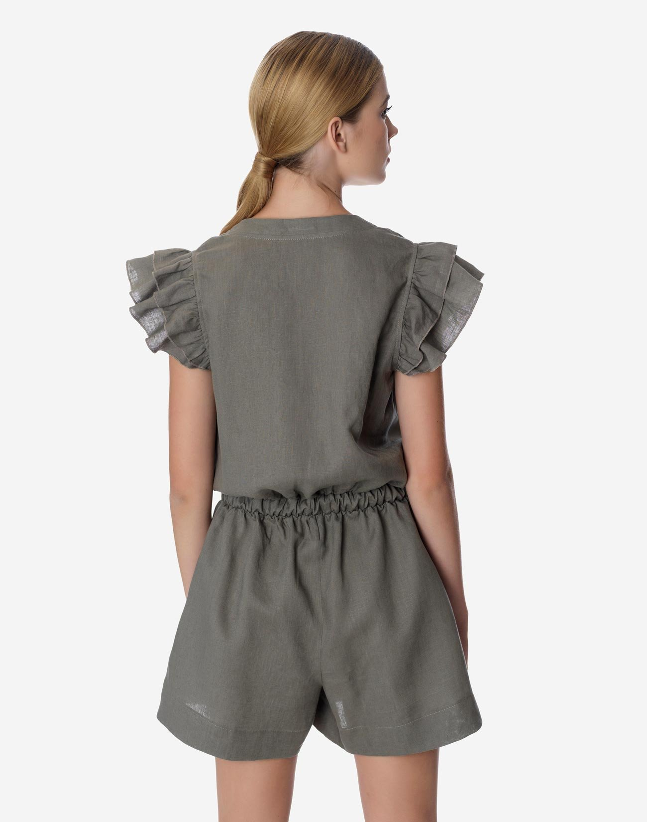 Linen playsuit with ruffles