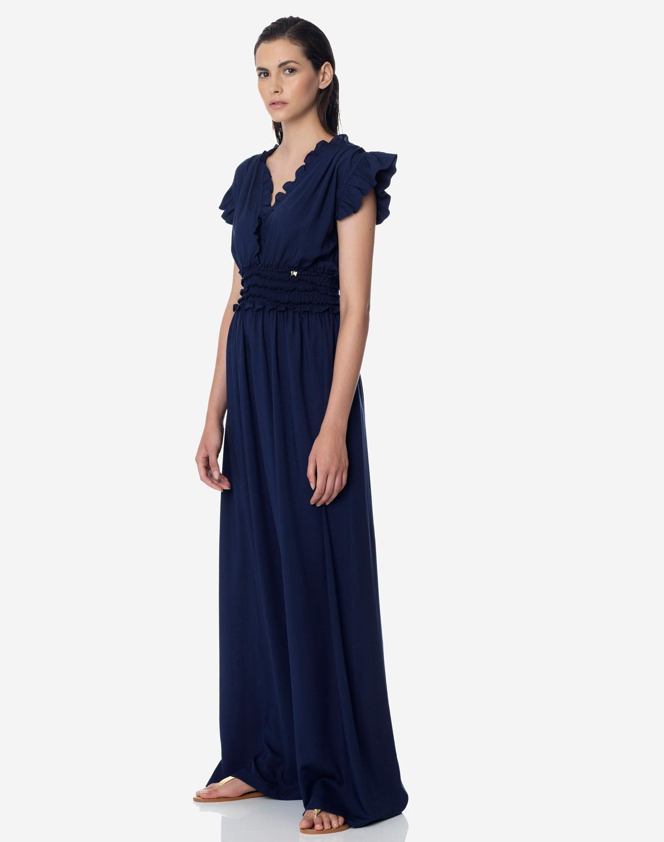 Μάξι φόρεμα με λεπτομέρεια λάστιχα