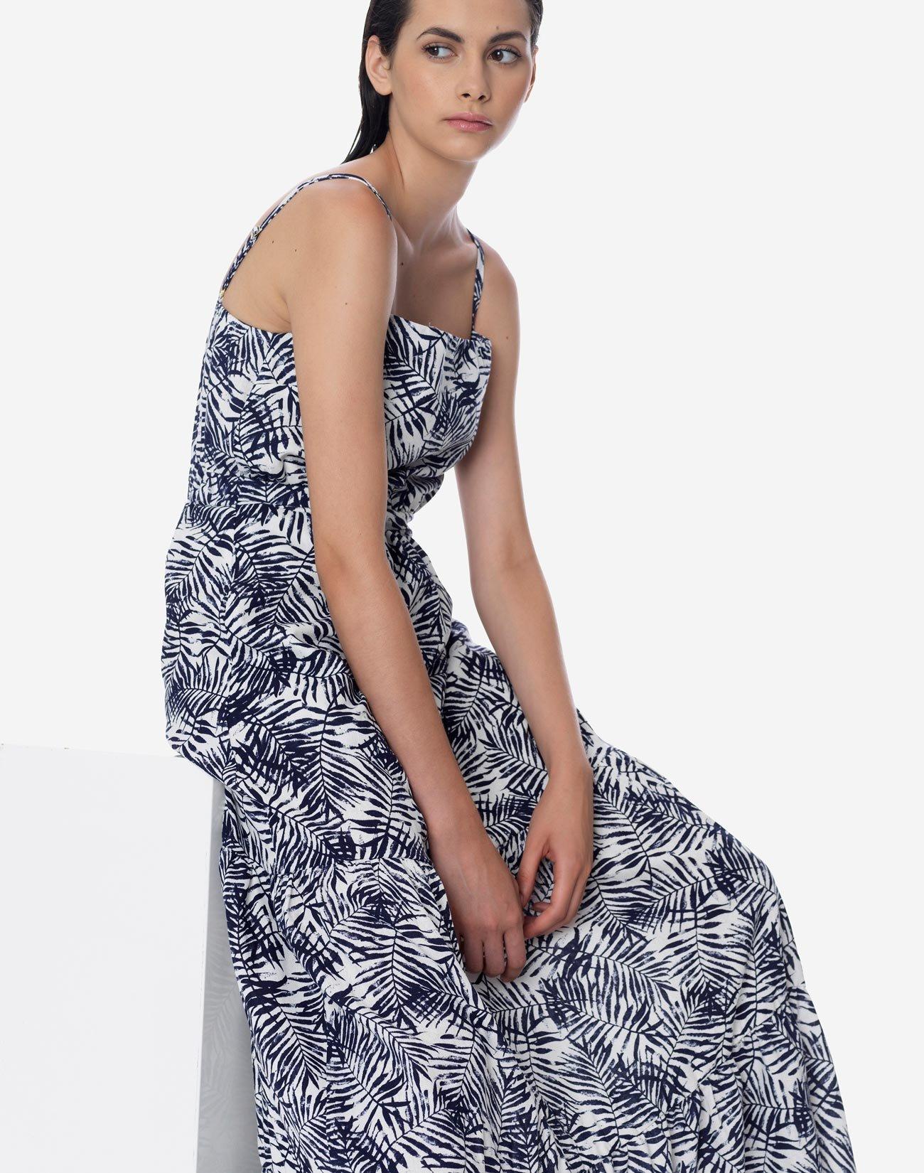 Εμπριμέ μάξι φόρεμα με τιράντες