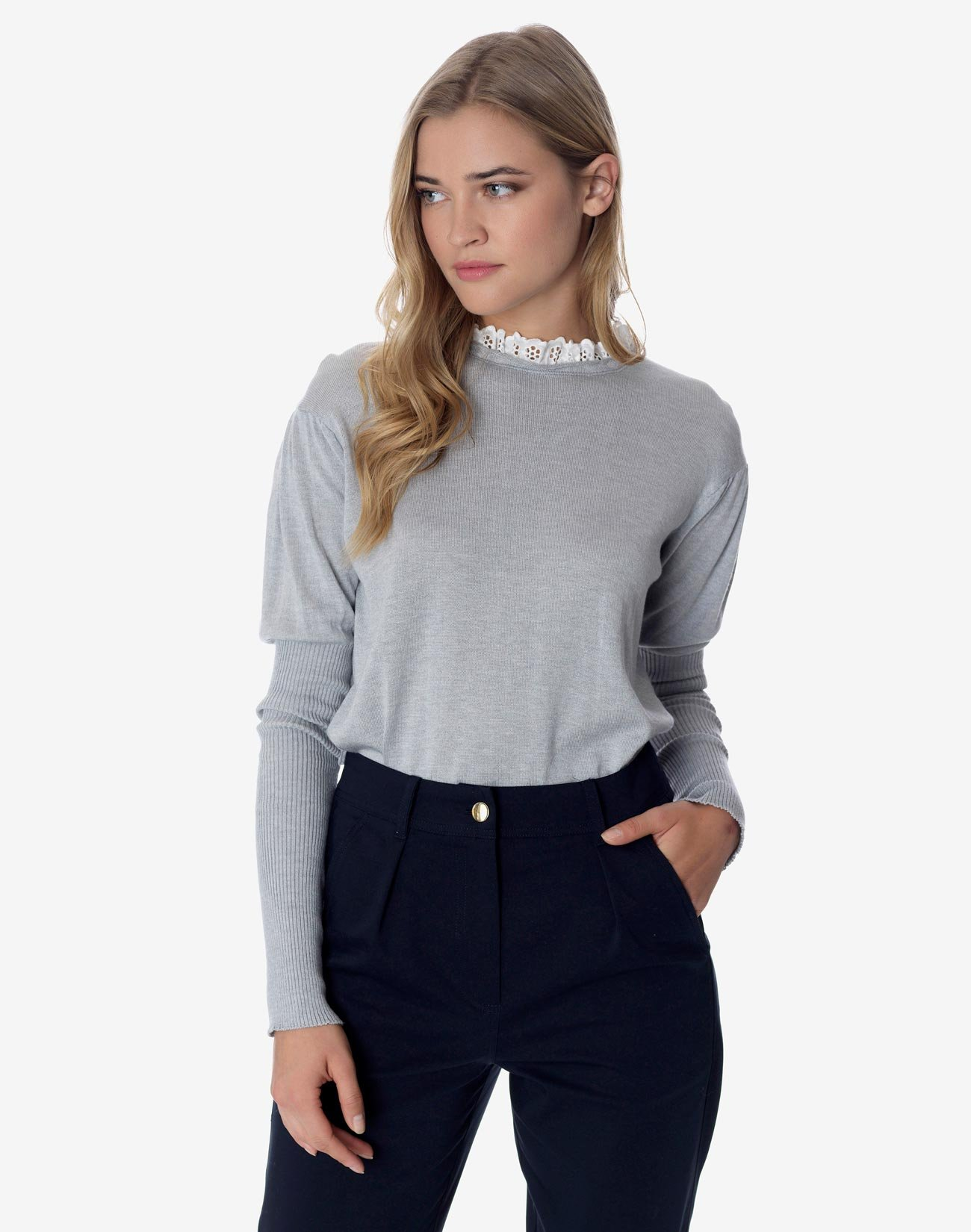 Top with high broderie anglaise collar