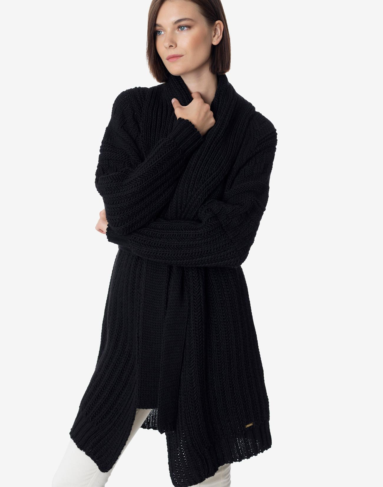 Long knit cardigan with belt