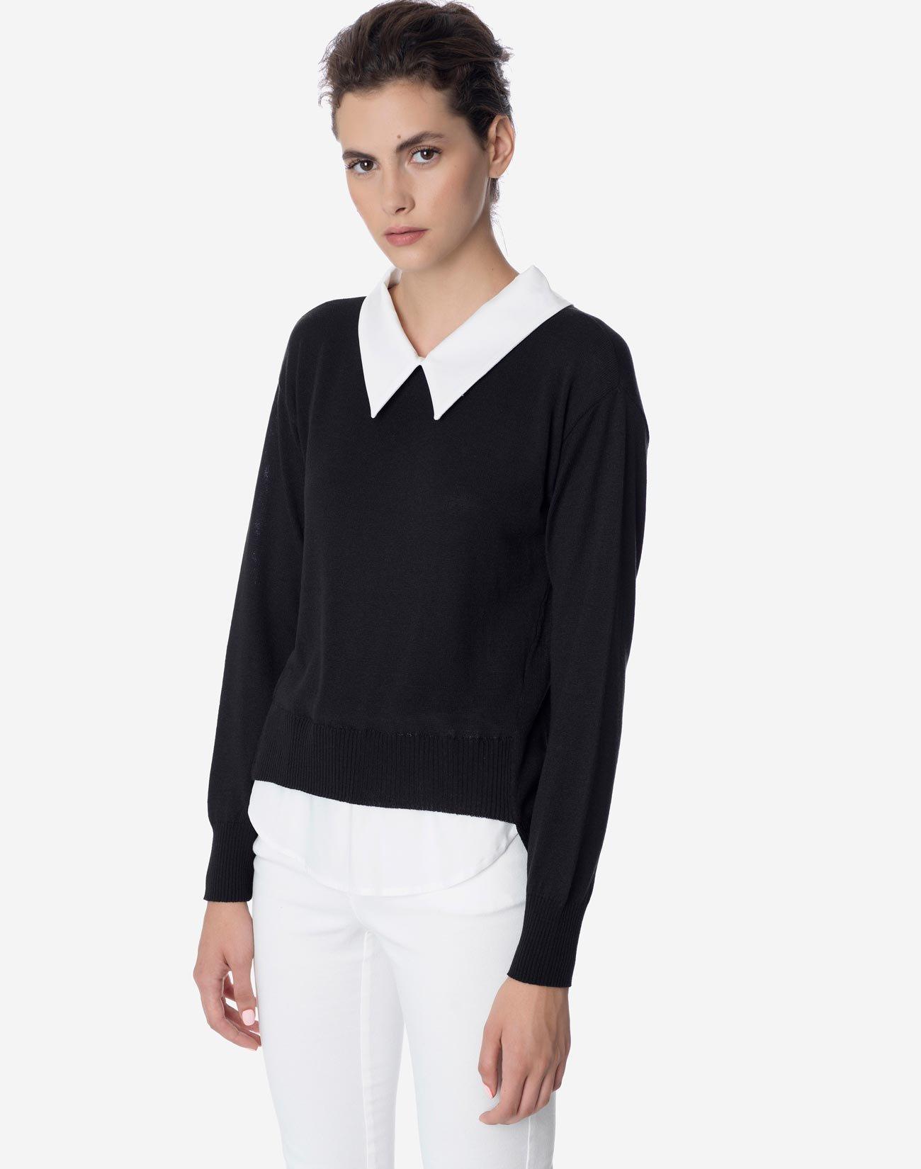 Πλεκτή μπλούζα με γιακά