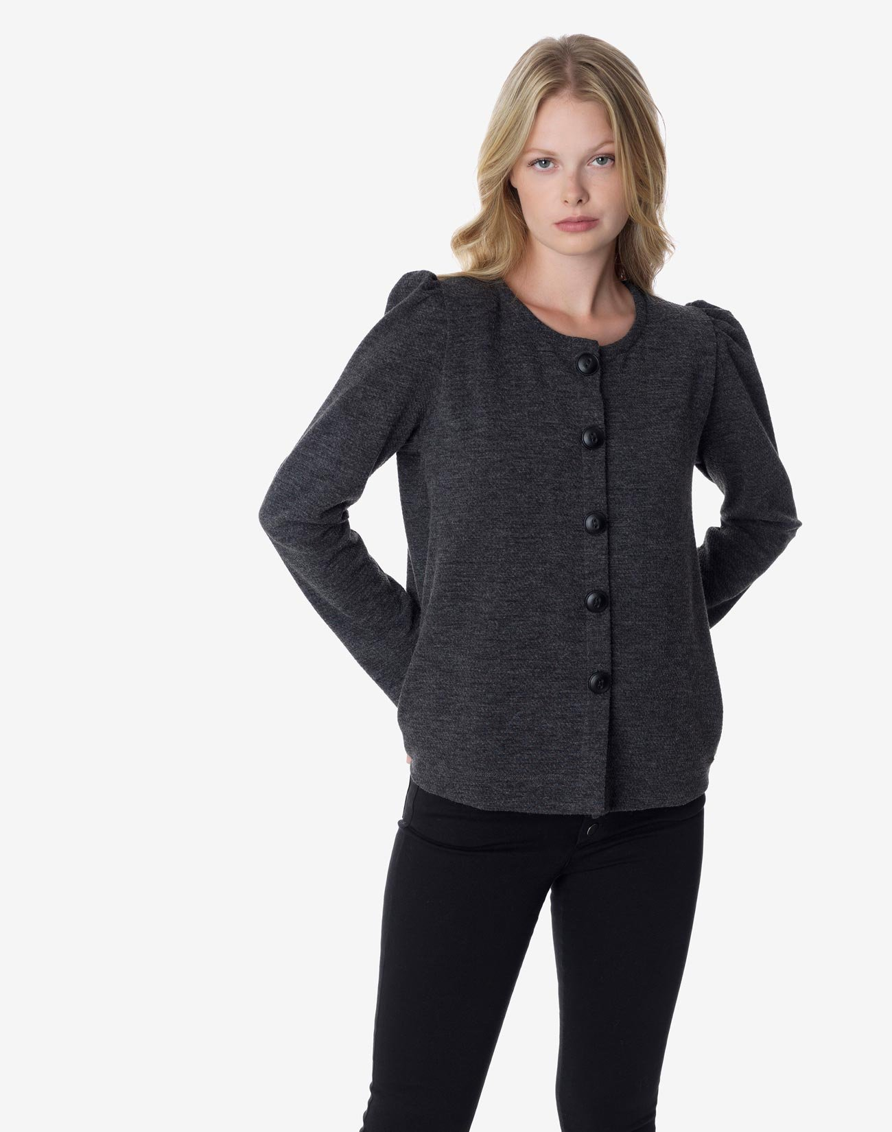 Cardigan with shoulder pads
