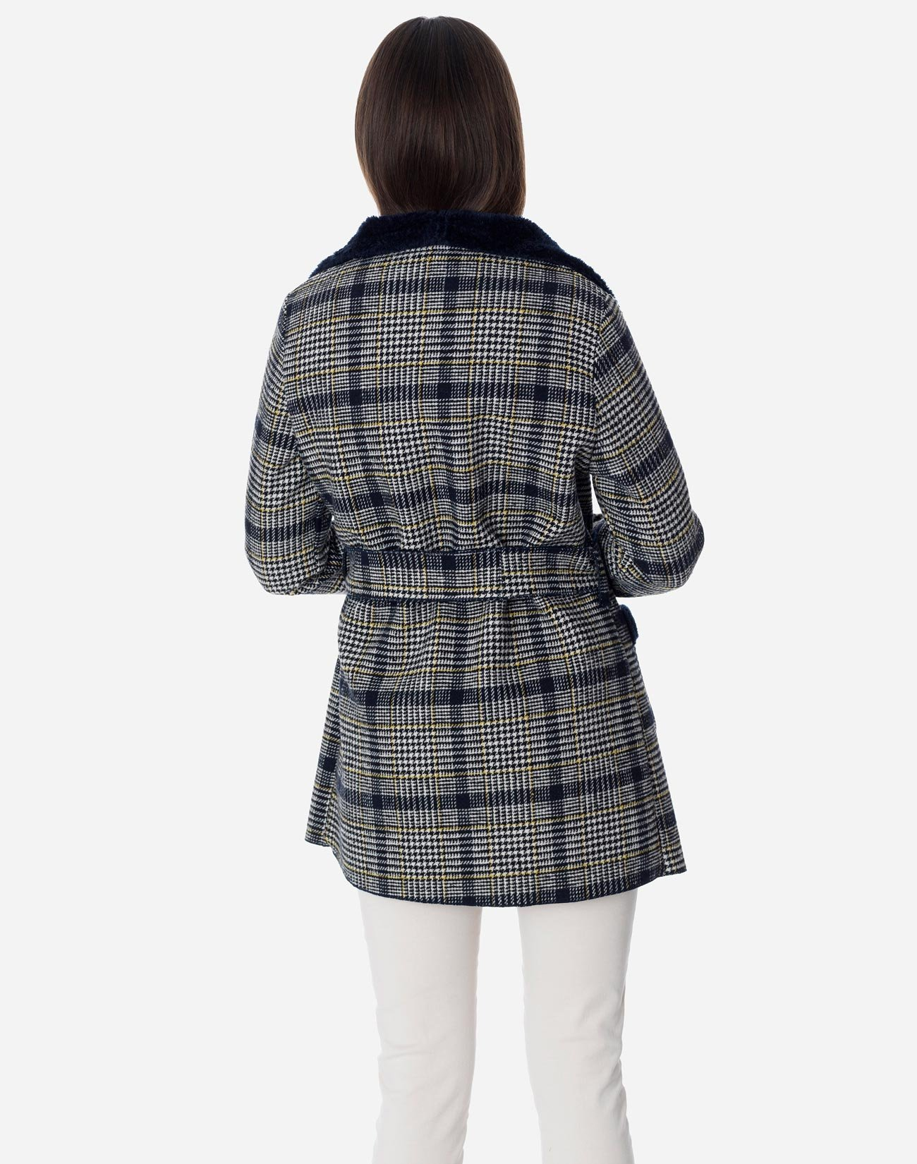 Plaid coat with pockets