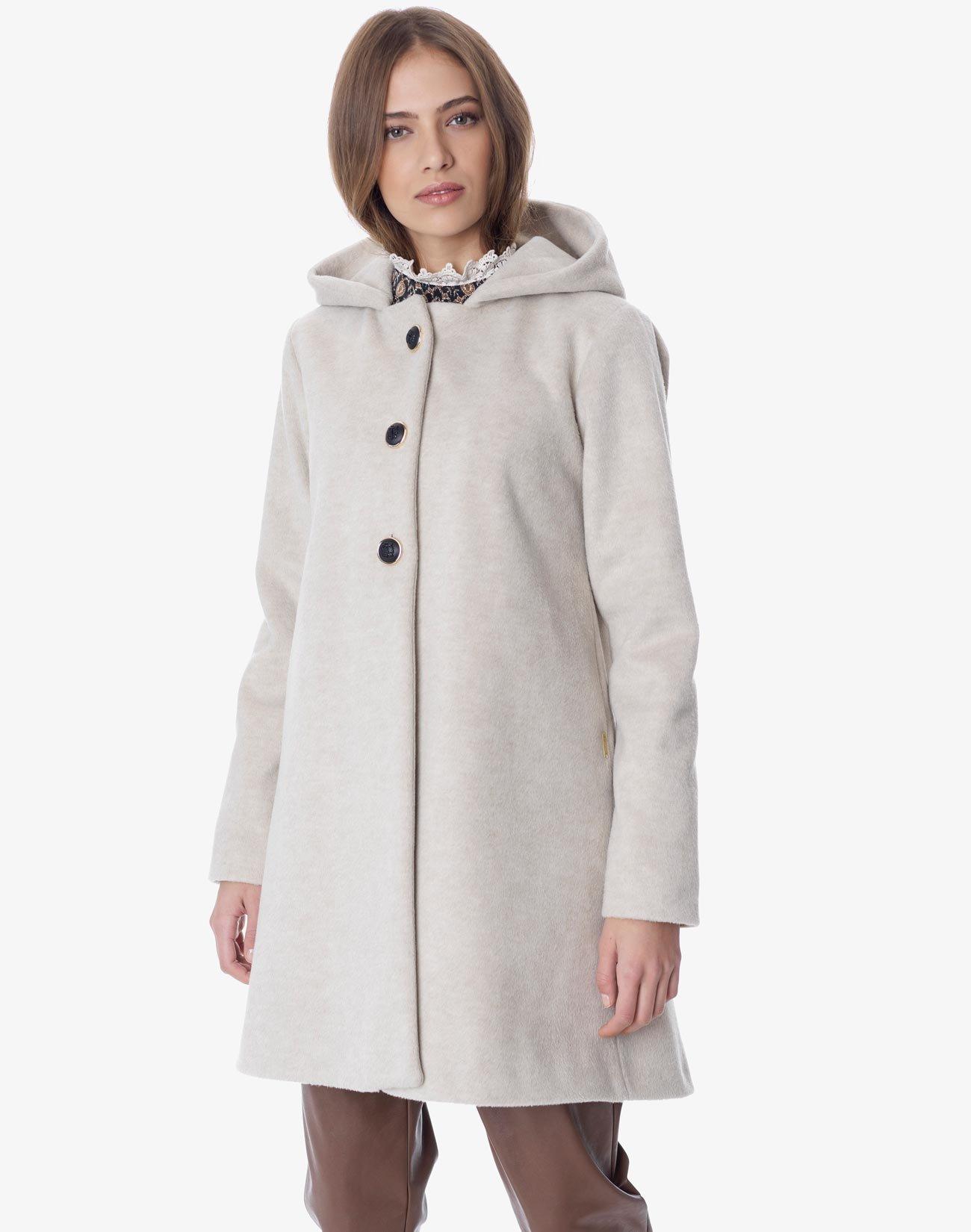 Παλτό με κουκούλα και φιόγκο